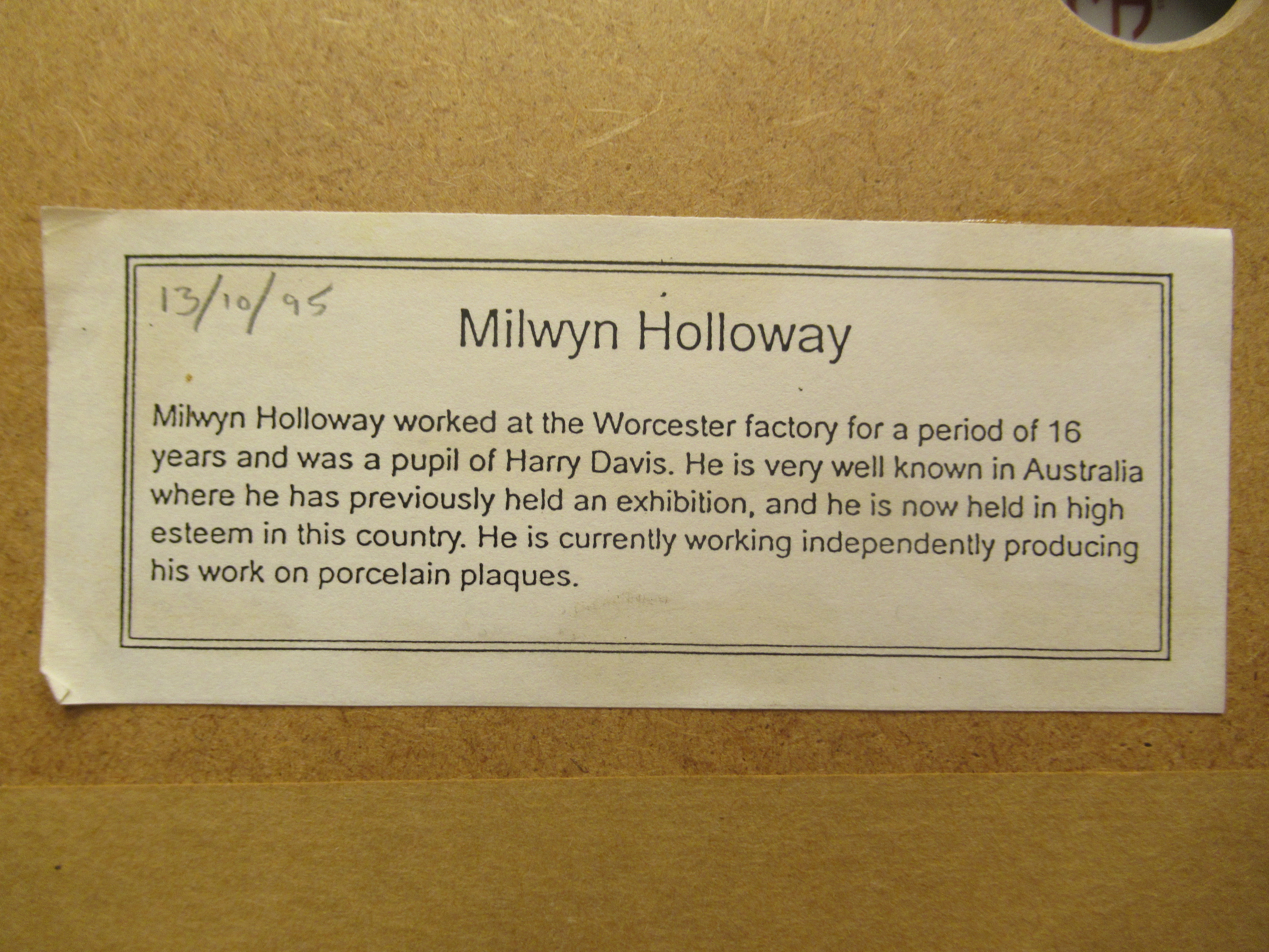 An oval convex porcelain plaque painted by Milwyn Holloway (formerly of Royal Worcester), - Image 6 of 7