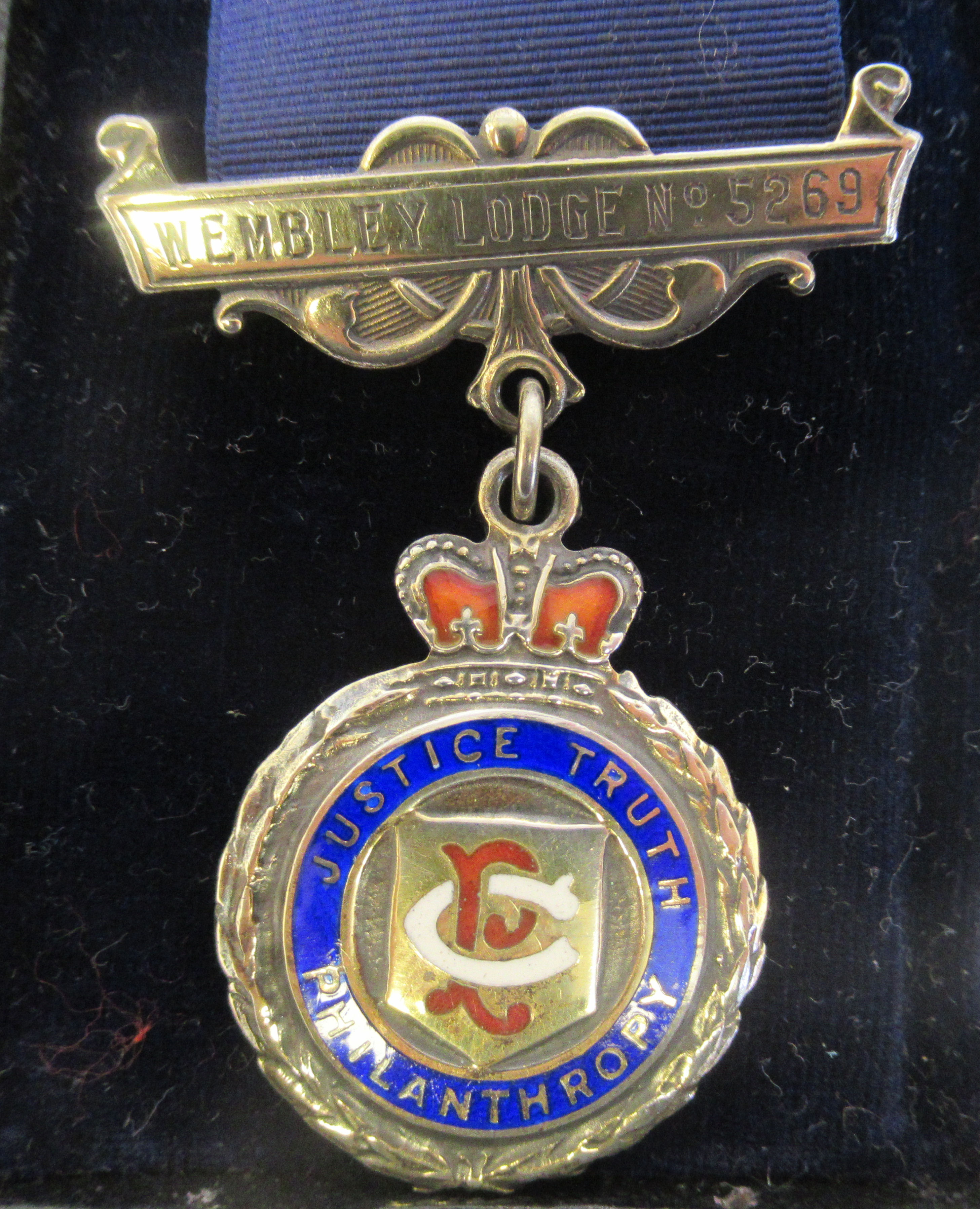 Three silver and coloured enamel Masonic medals, on ribbons mixed marks cased - Image 3 of 9