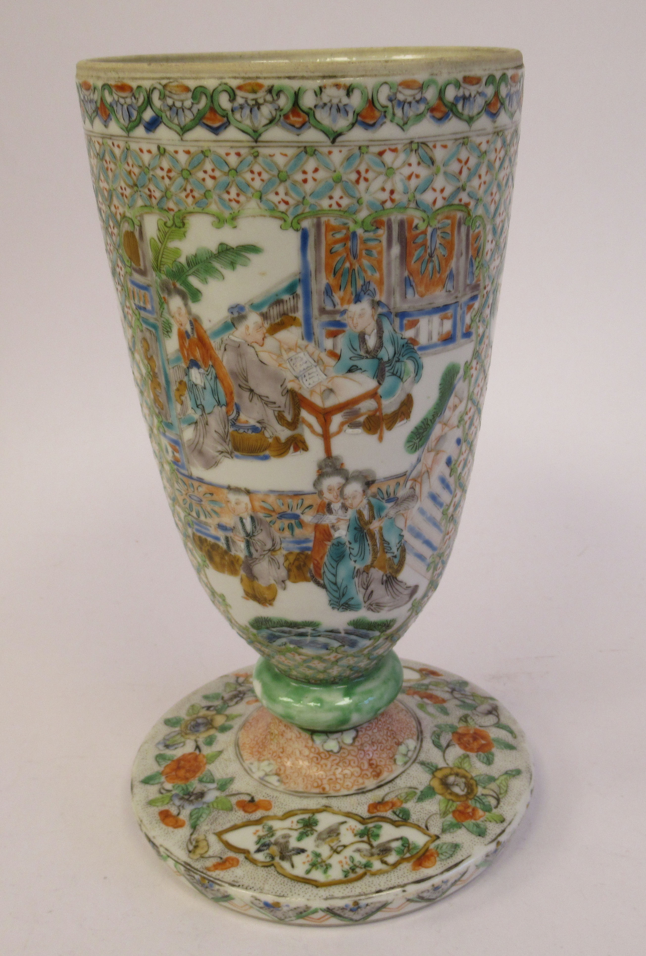 A late 19thC Chinese porcelain trumpet shaped vase, decorated with figures in relief, on a splayed - Image 2 of 5