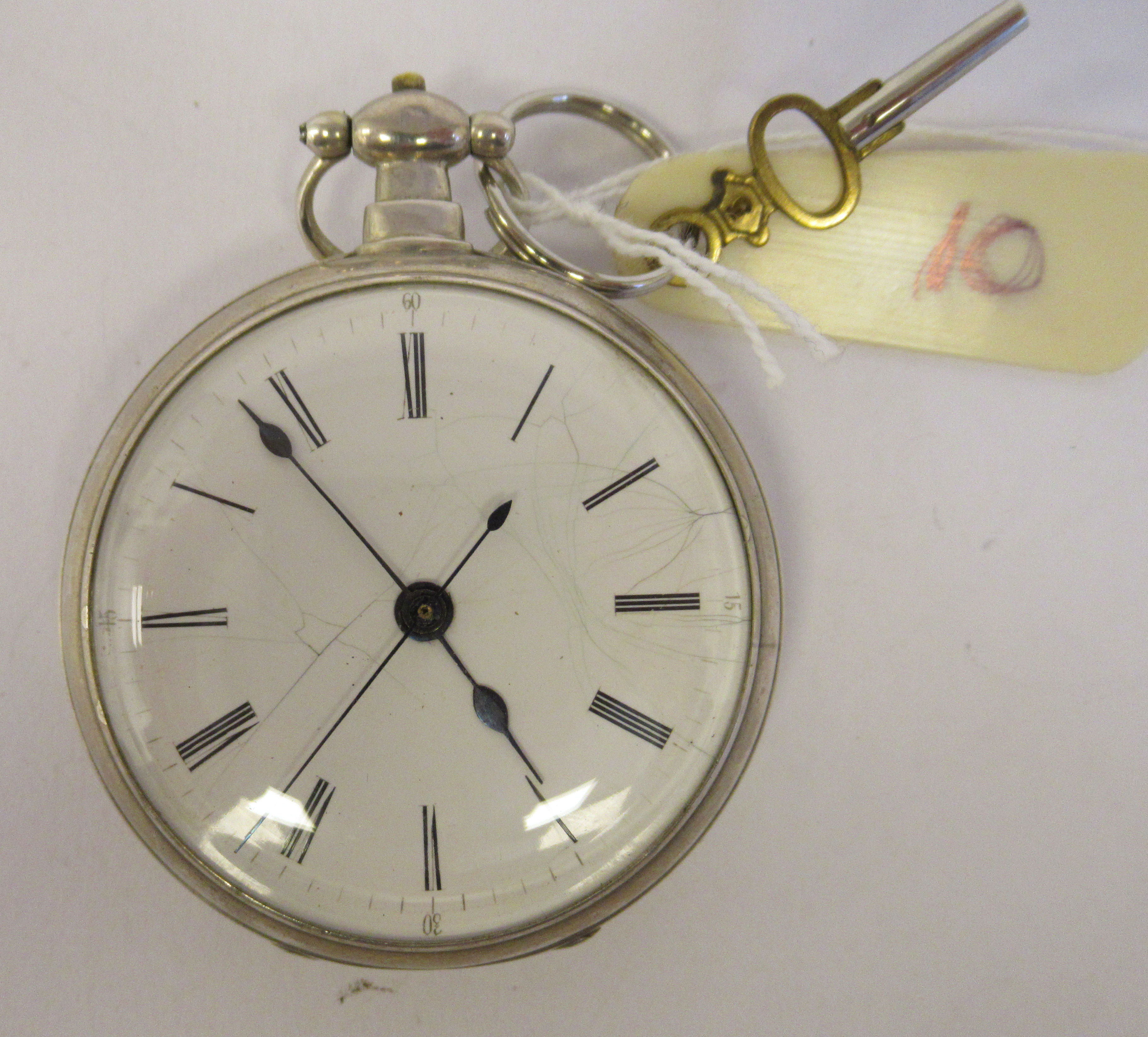 A 19thC silver cased pocket watch, the jewelled movement with sweeping seconds, protected by a