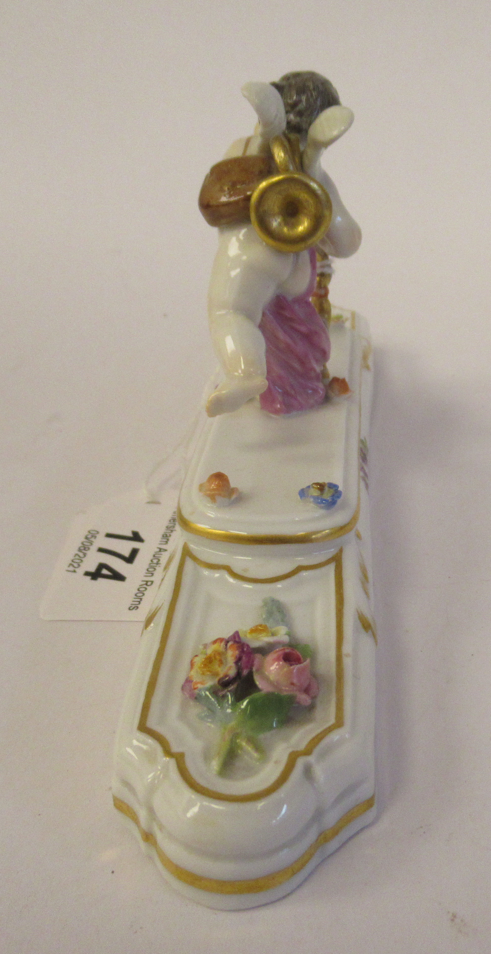 A 20thC Meissen gilded porcelain paperweight, featuring a standing cherubic figure with a staff, - Image 2 of 5