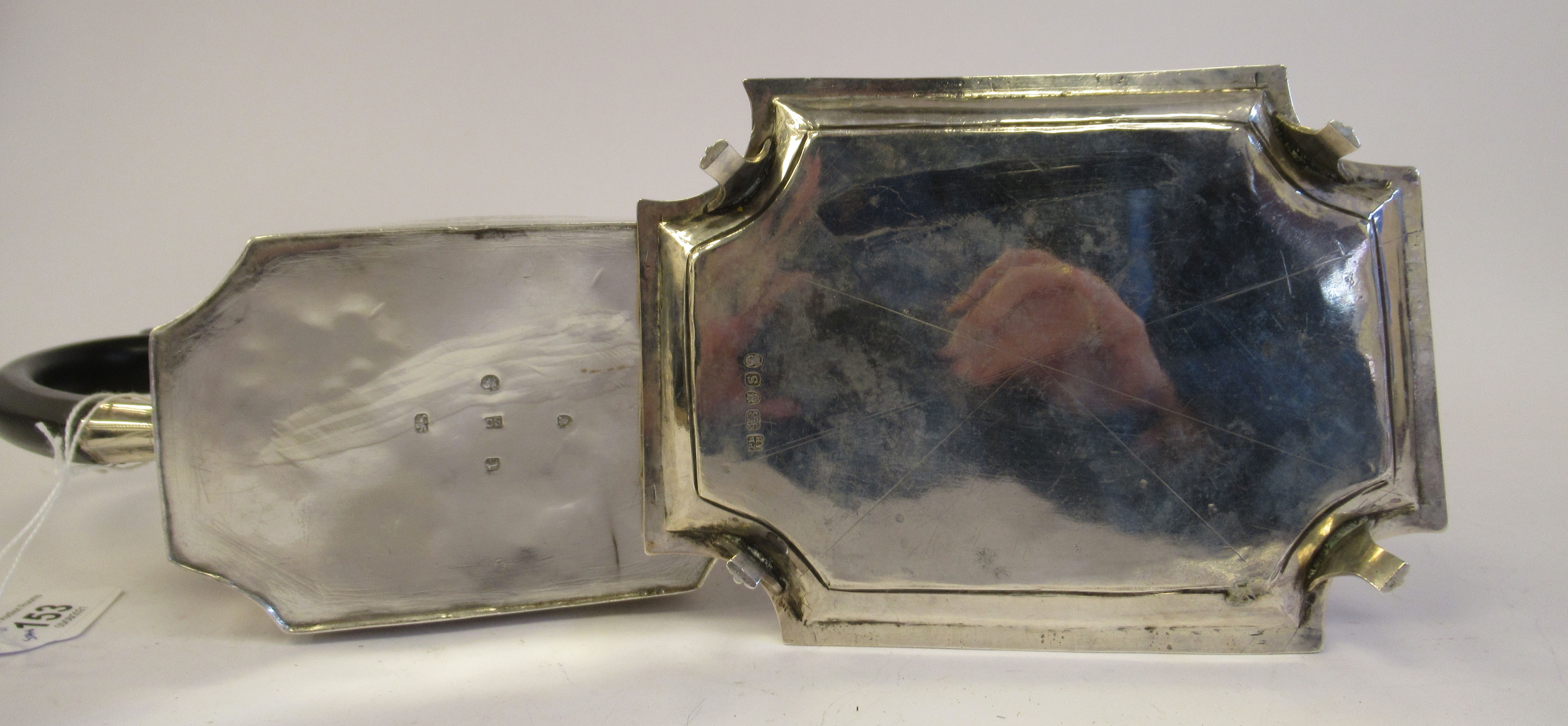 A George III silver teapot of straight sided, incurved box design, having an angled straight, - Image 5 of 9