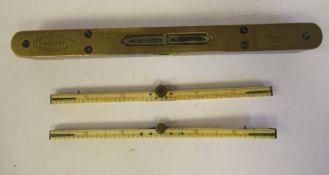 "A late 19th/early 20thC John Rabone & Sons of Birmingham, brass mounted hardwood spirit level 8"""