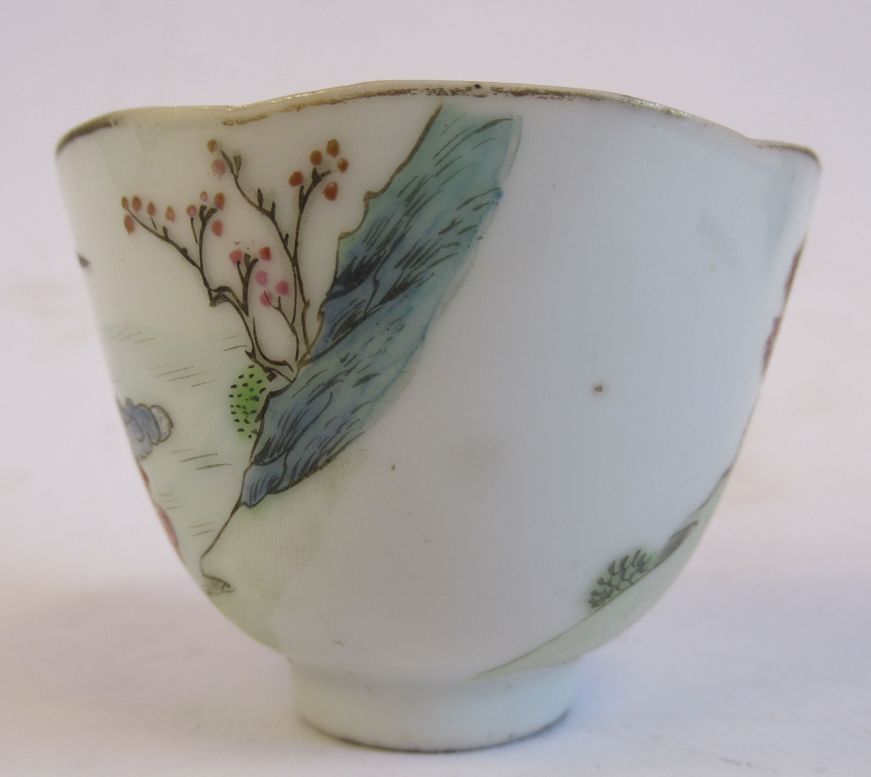 """A 19thC Chinese porcelain footed wine cup, decorated in famille rose with figures and birds 1.75""""h - Image 3 of 7"""