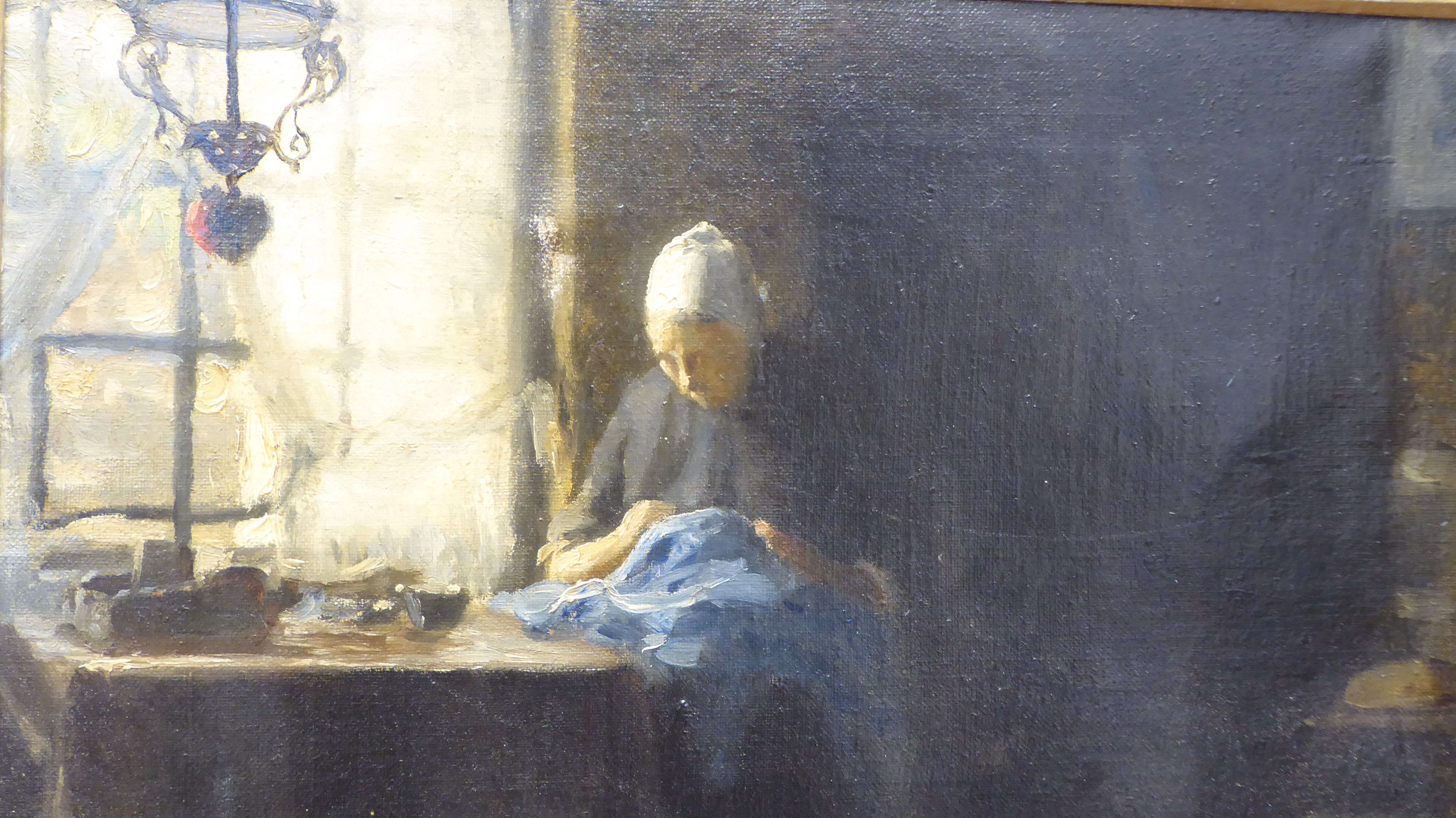 William Norton - a Dutch interior scene, depicting a woman doing needlework, seated at a table by - Image 3 of 5