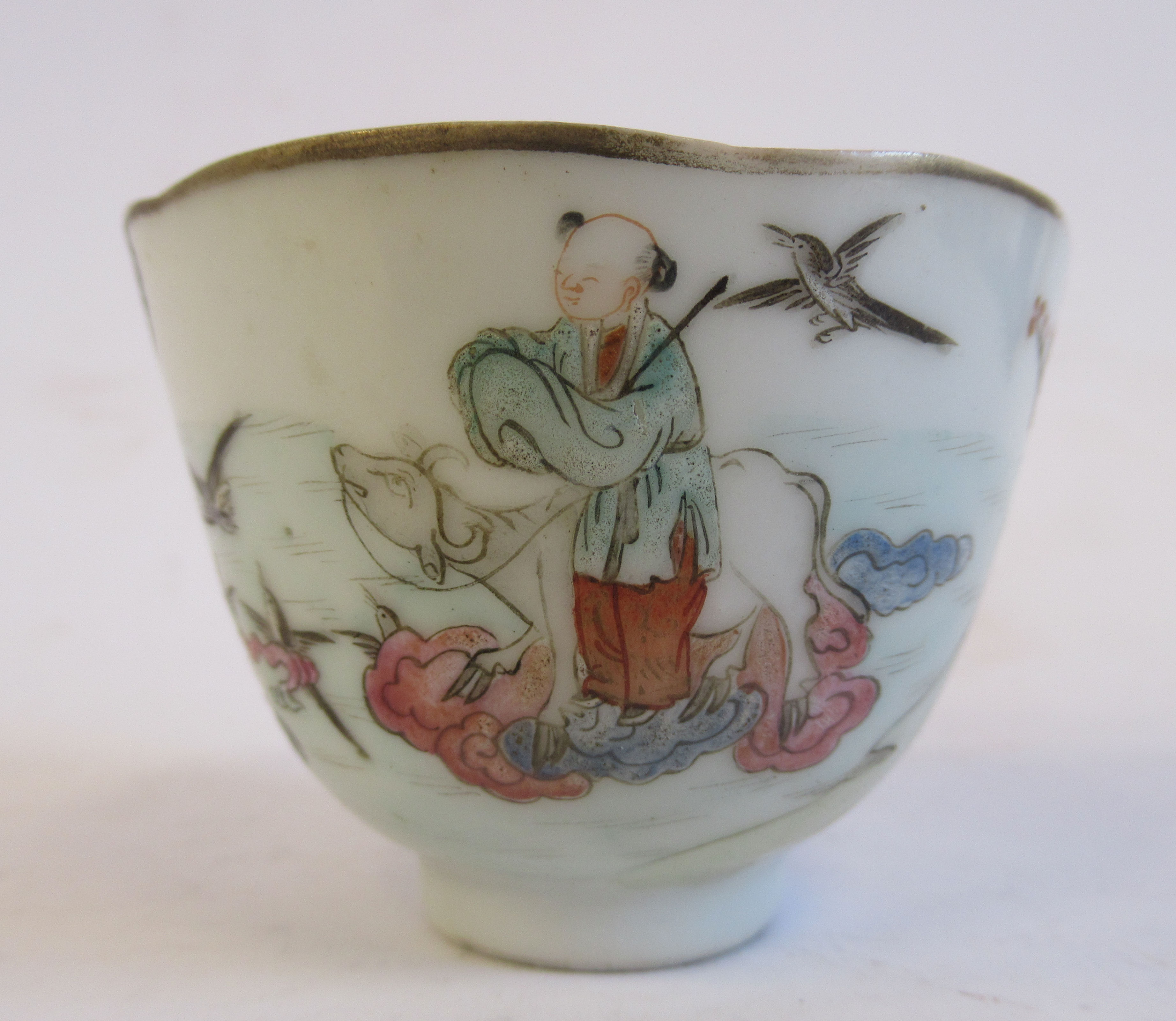 """A 19thC Chinese porcelain footed wine cup, decorated in famille rose with figures and birds 1.75""""h - Image 2 of 7"""