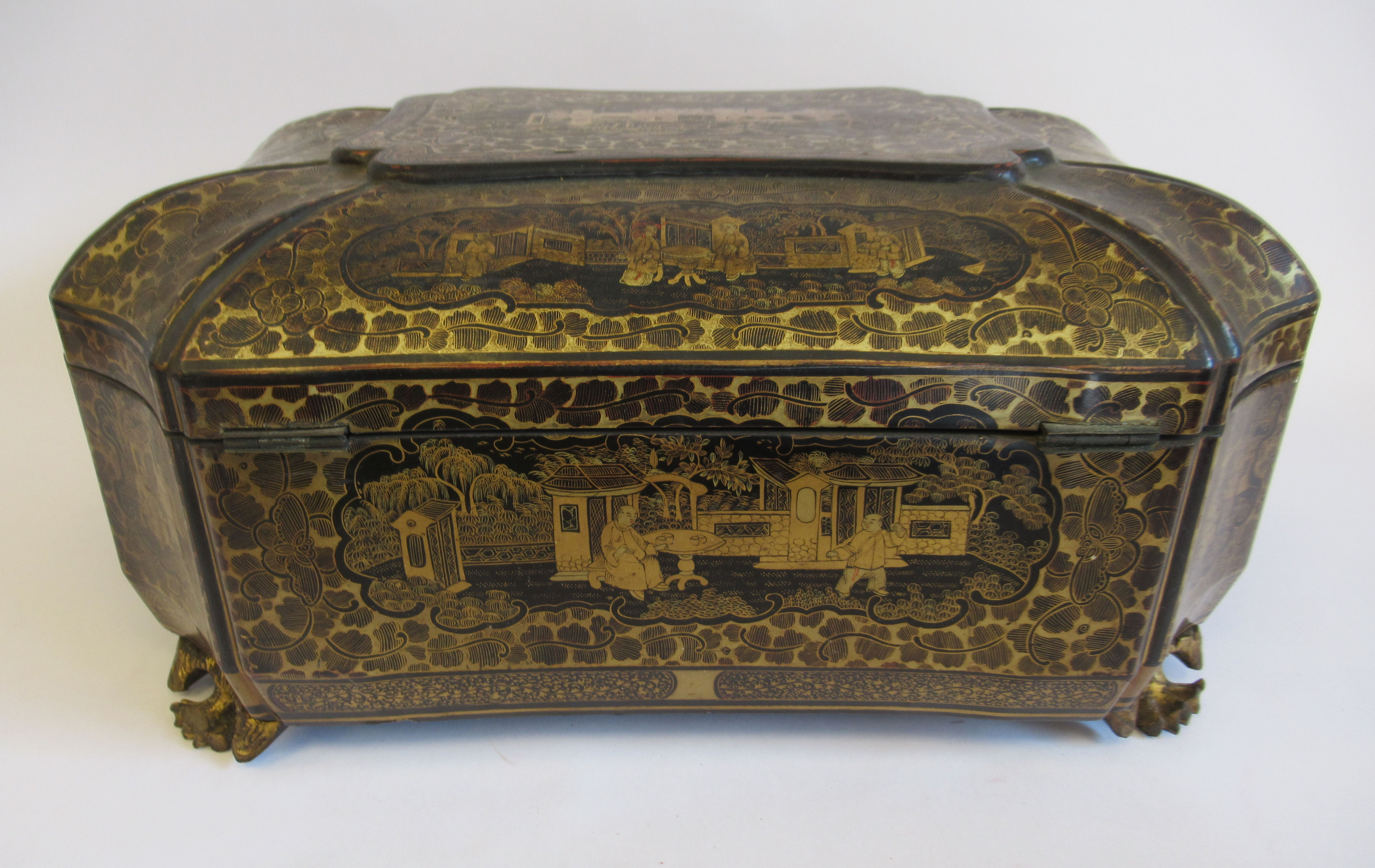 A late 19thC Sino European black lacquered sewing casket of incurved, elongated octagonal form - Image 4 of 11