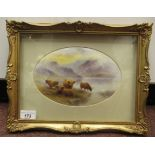 An oval convex porcelain plaque painted by Milwyn Holloway (formerly of Royal Worcester),