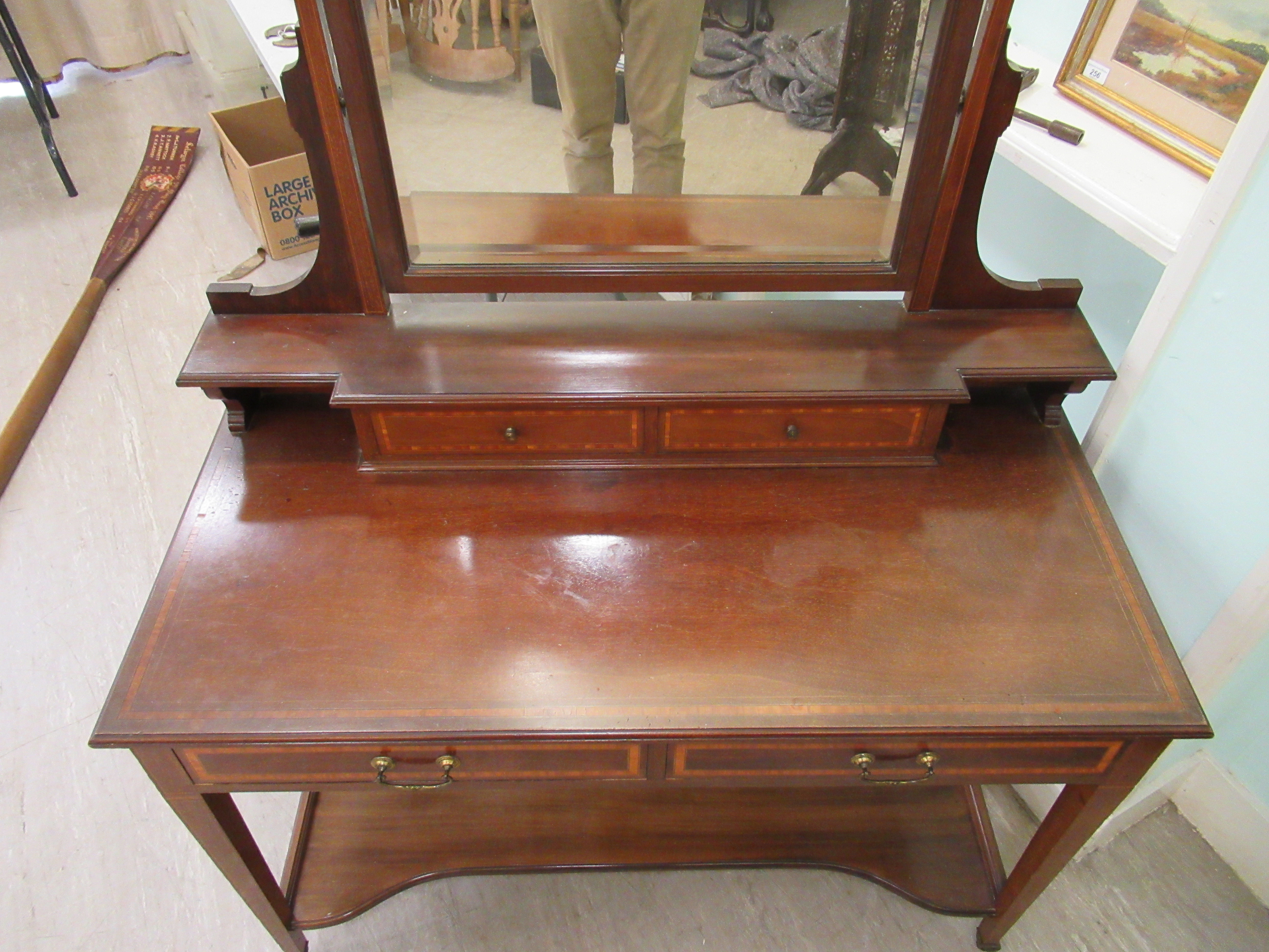 An Edwardian Maple & Co string inlaid ebony and crossbanded mahogany dressing table, surmounted by a - Image 6 of 9