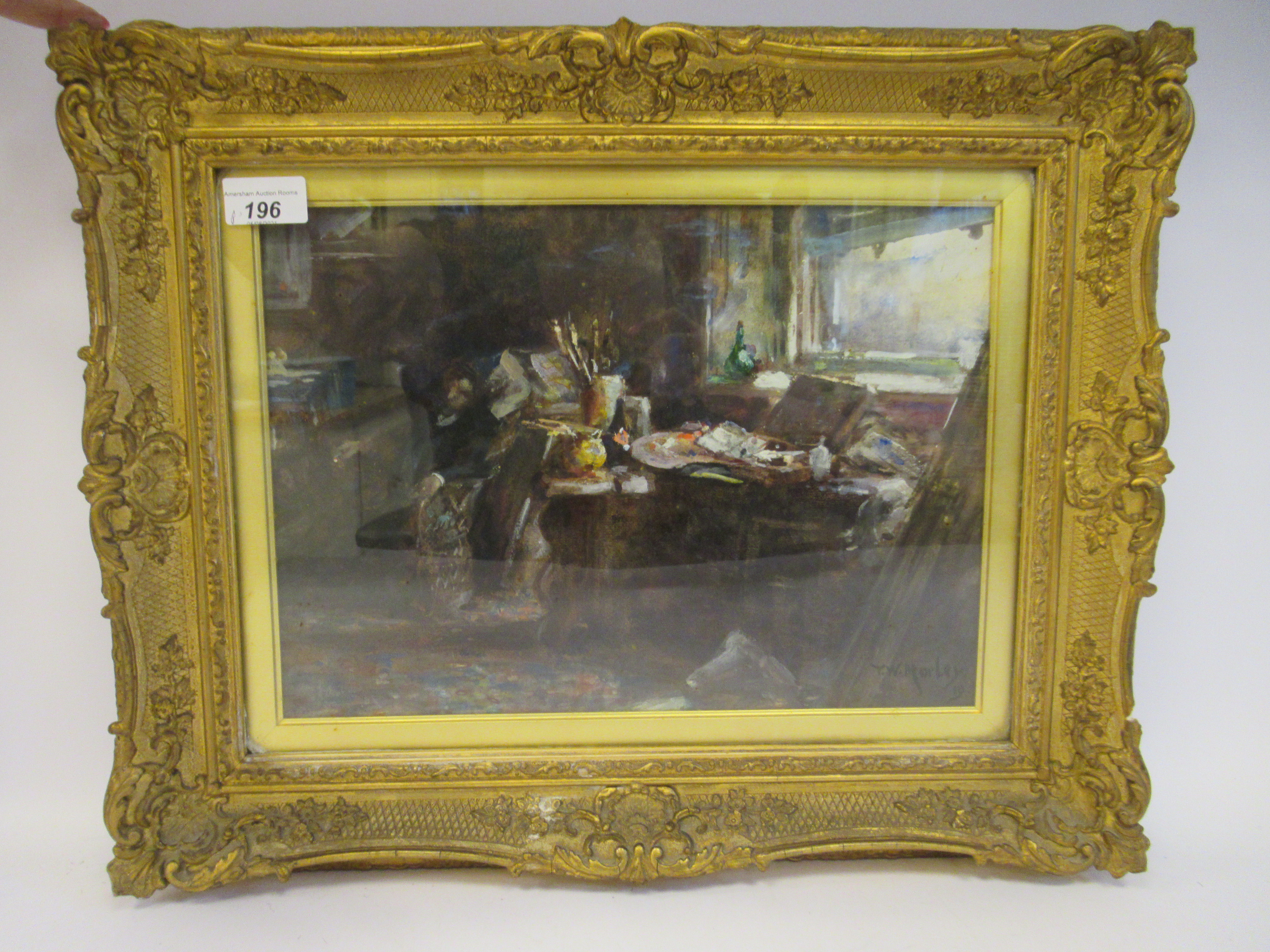 TW Morley - an interior studio scene with an artist resting in an armchair watercolour bears a