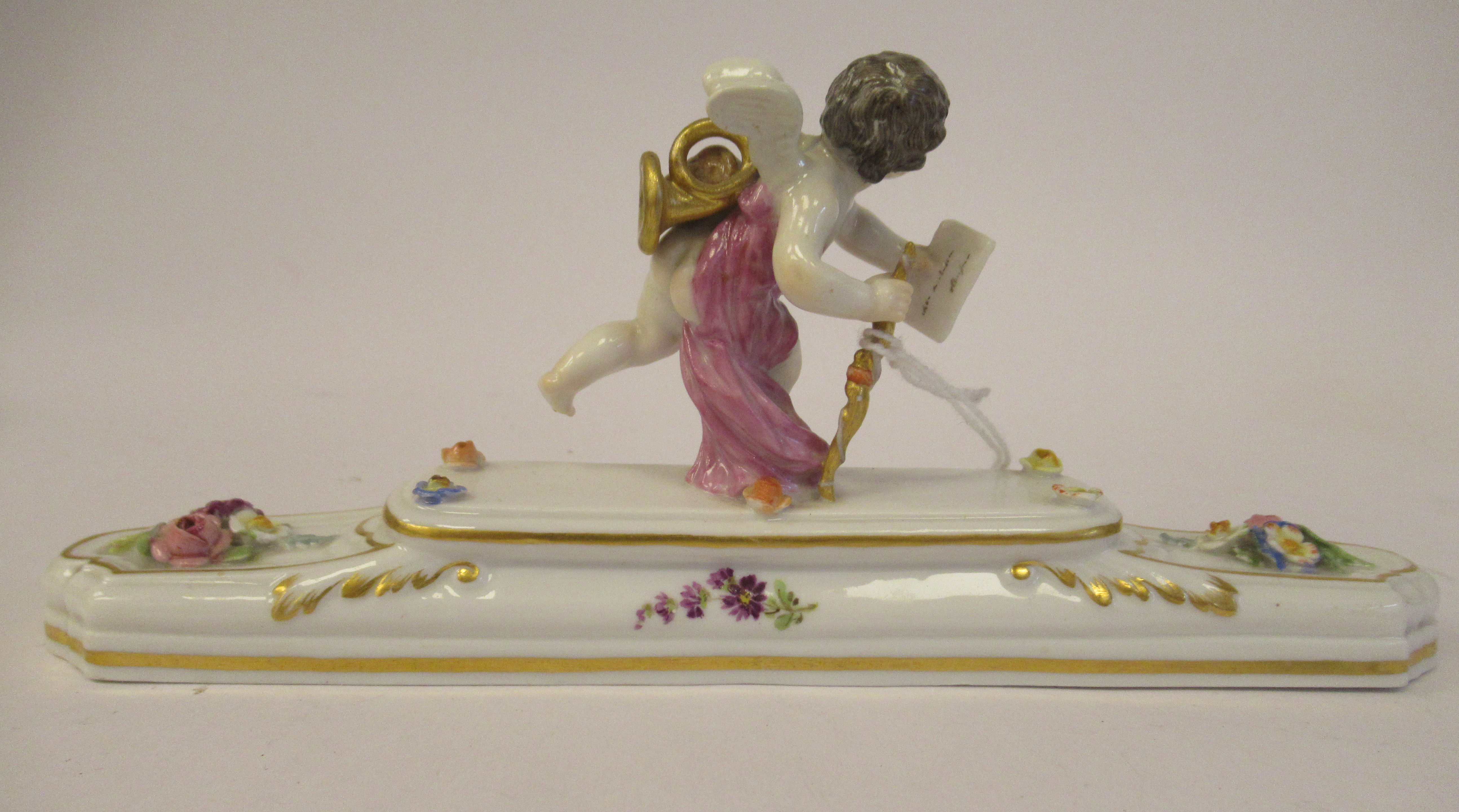 A 20thC Meissen gilded porcelain paperweight, featuring a standing cherubic figure with a staff, - Image 3 of 5