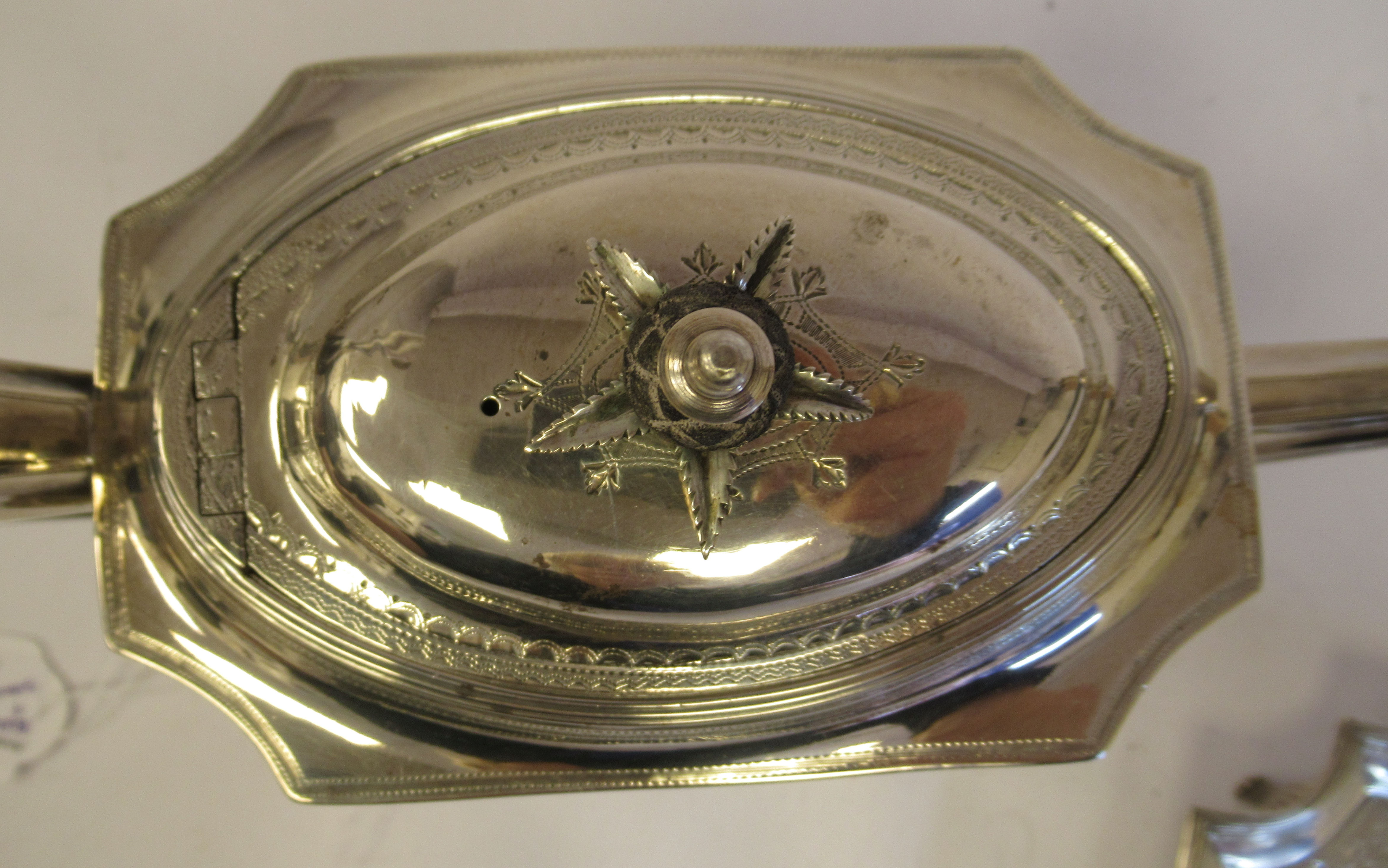 A George III silver teapot of straight sided, incurved box design, having an angled straight, - Image 4 of 9