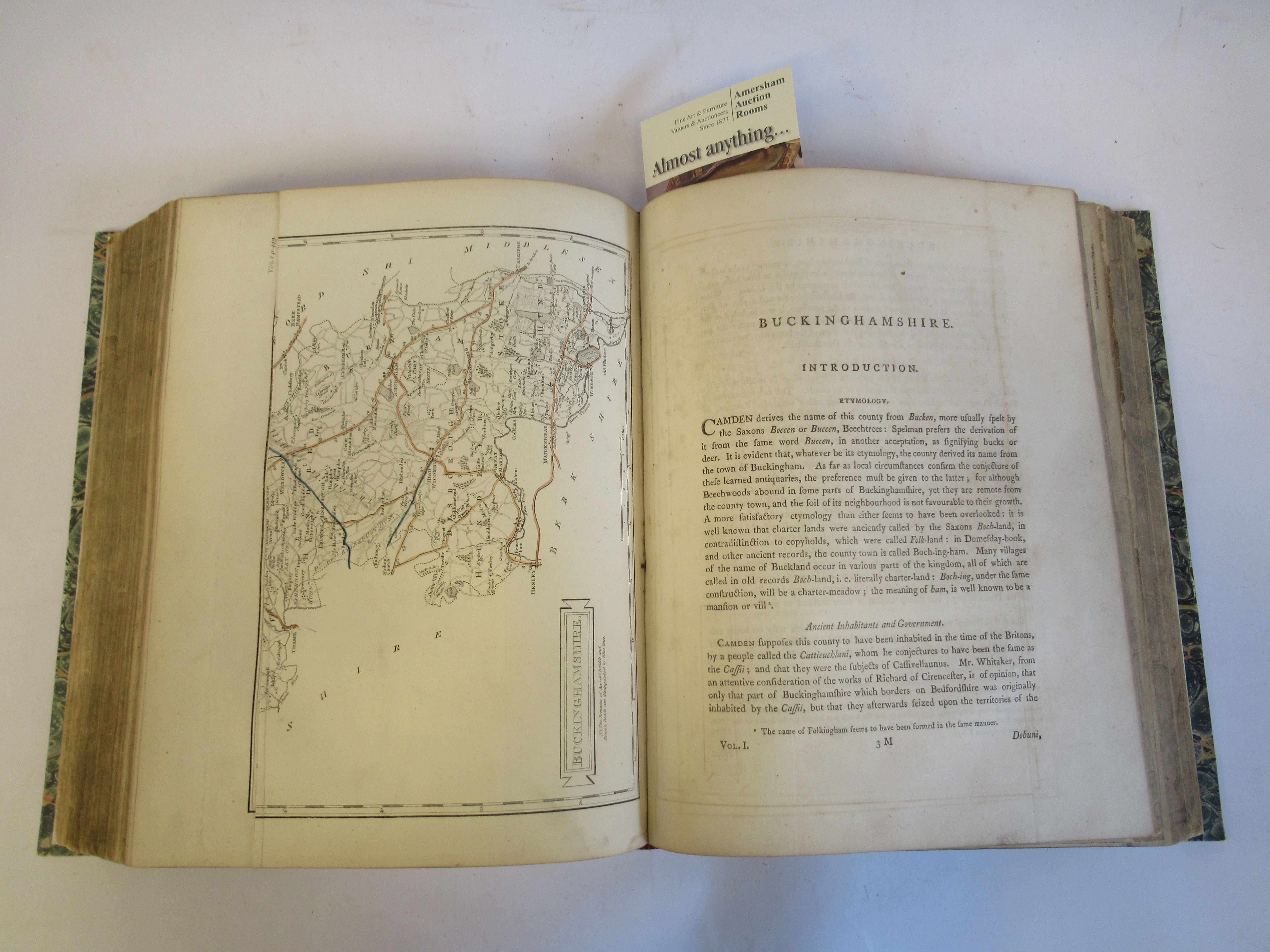 Book: 'Magna Britannia' (first volume) 'Bedfordshire & Buckinghamshire' by Danial Lysons, 44 plates, - Image 7 of 9