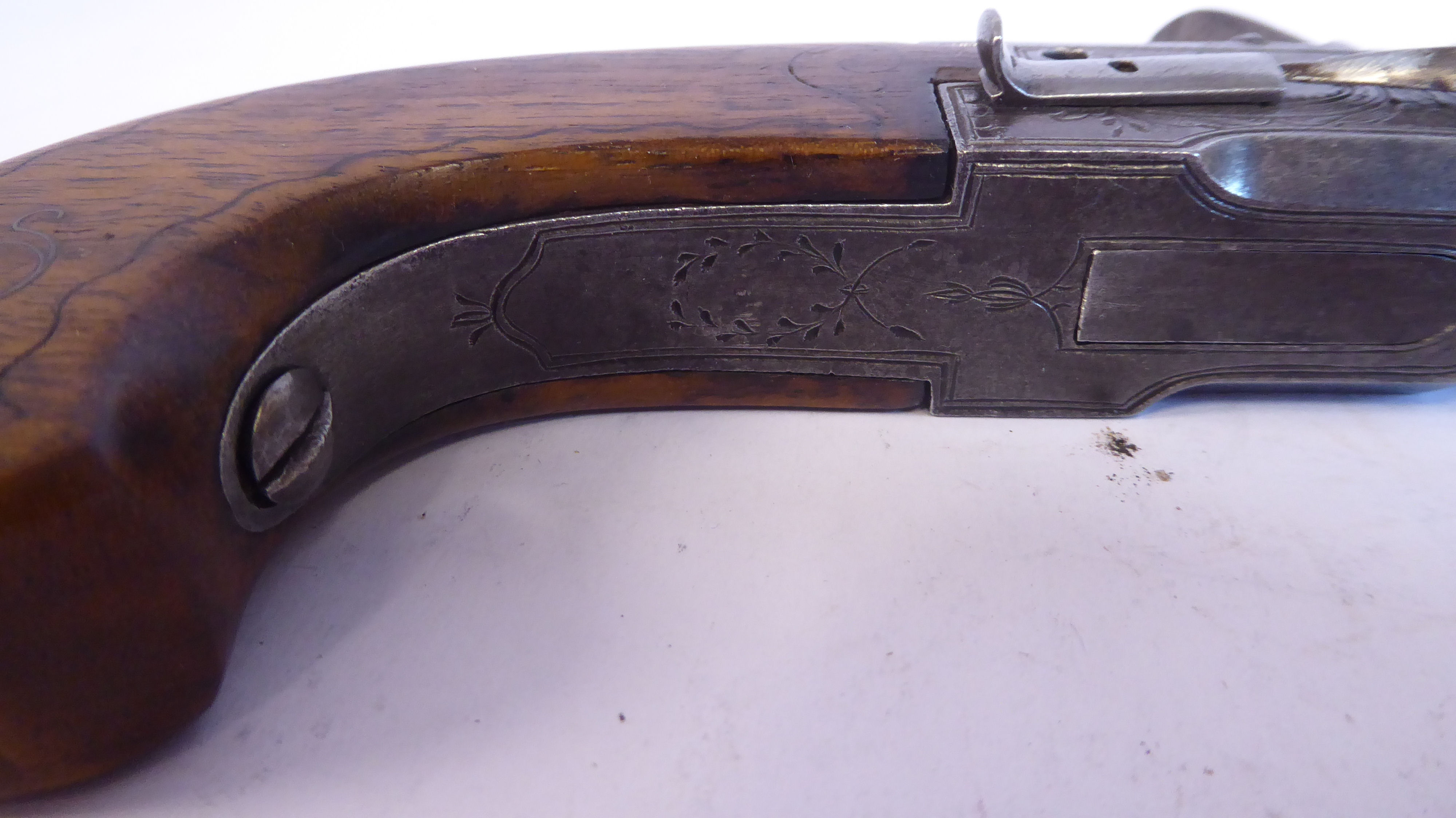 A 19thC Continental flintlock pistol with a folding trigger, inlaid wire ornament on the walnut - Image 6 of 9