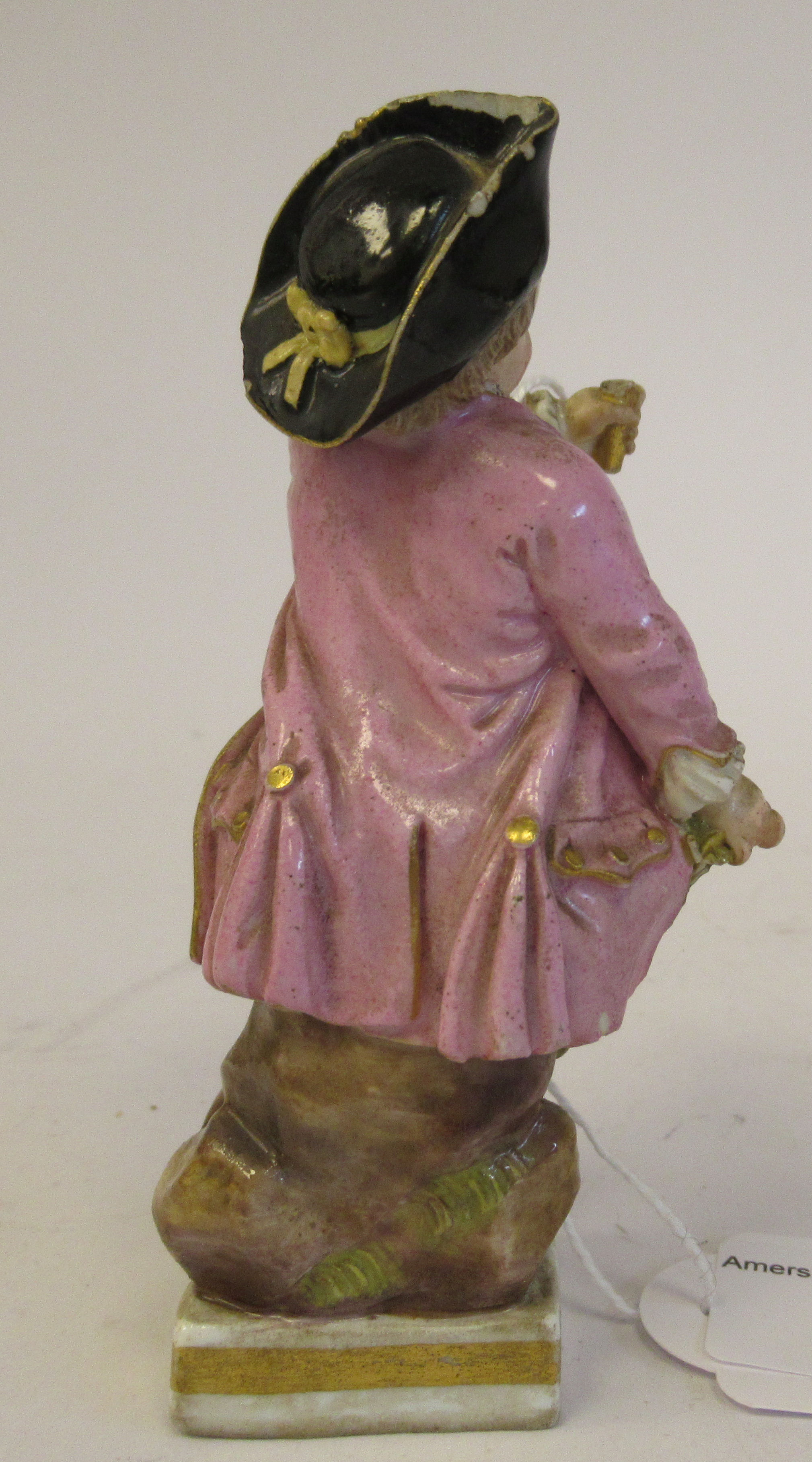 """A 19th/20thC Meissen porcelain figure, a boy dressed as a pirate, on a square plinth 4""""h - Image 2 of 9"""