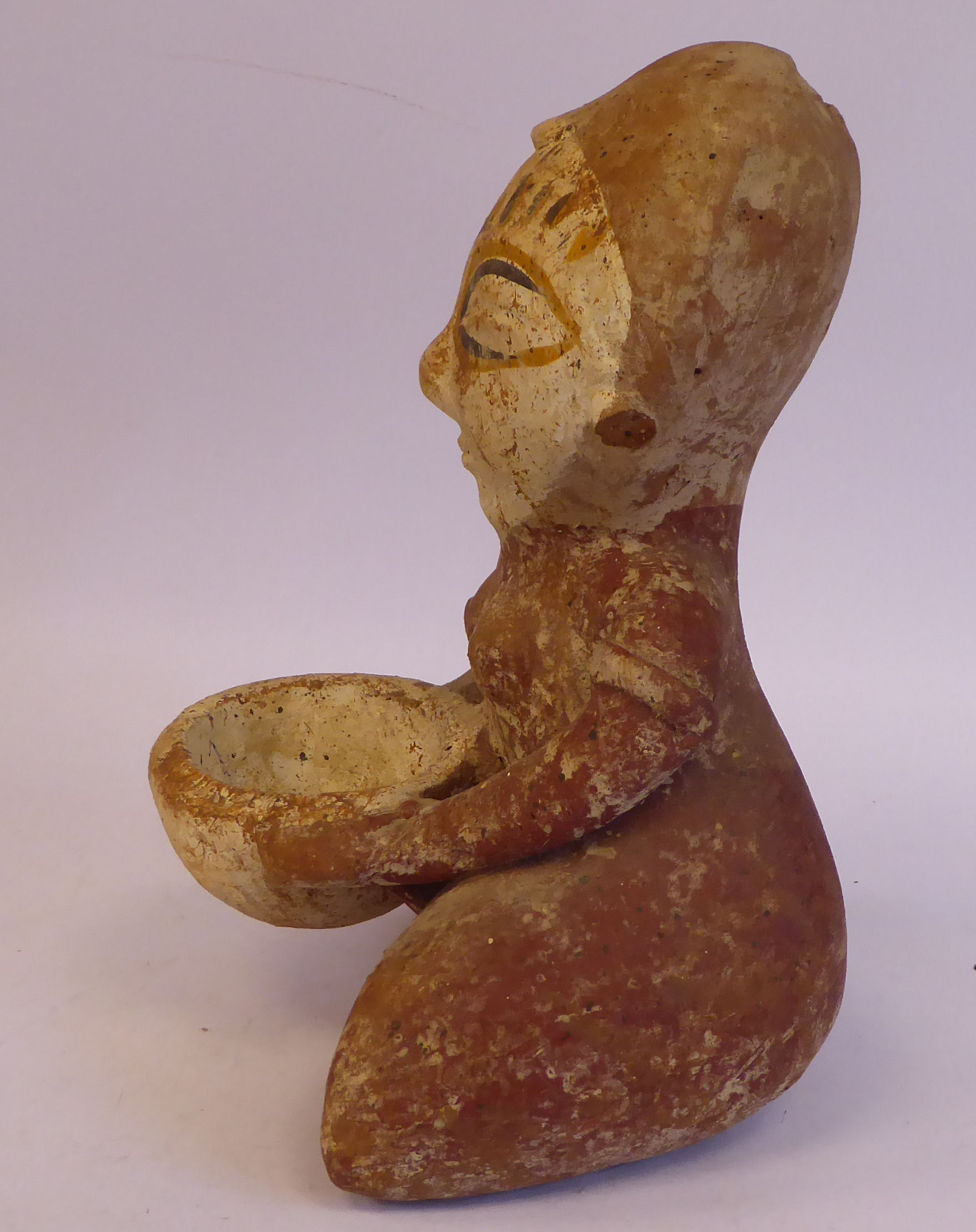 """An African painted pottery tribal figure, a kneeling woman, holding a bowl 10""""h - Image 4 of 6"""
