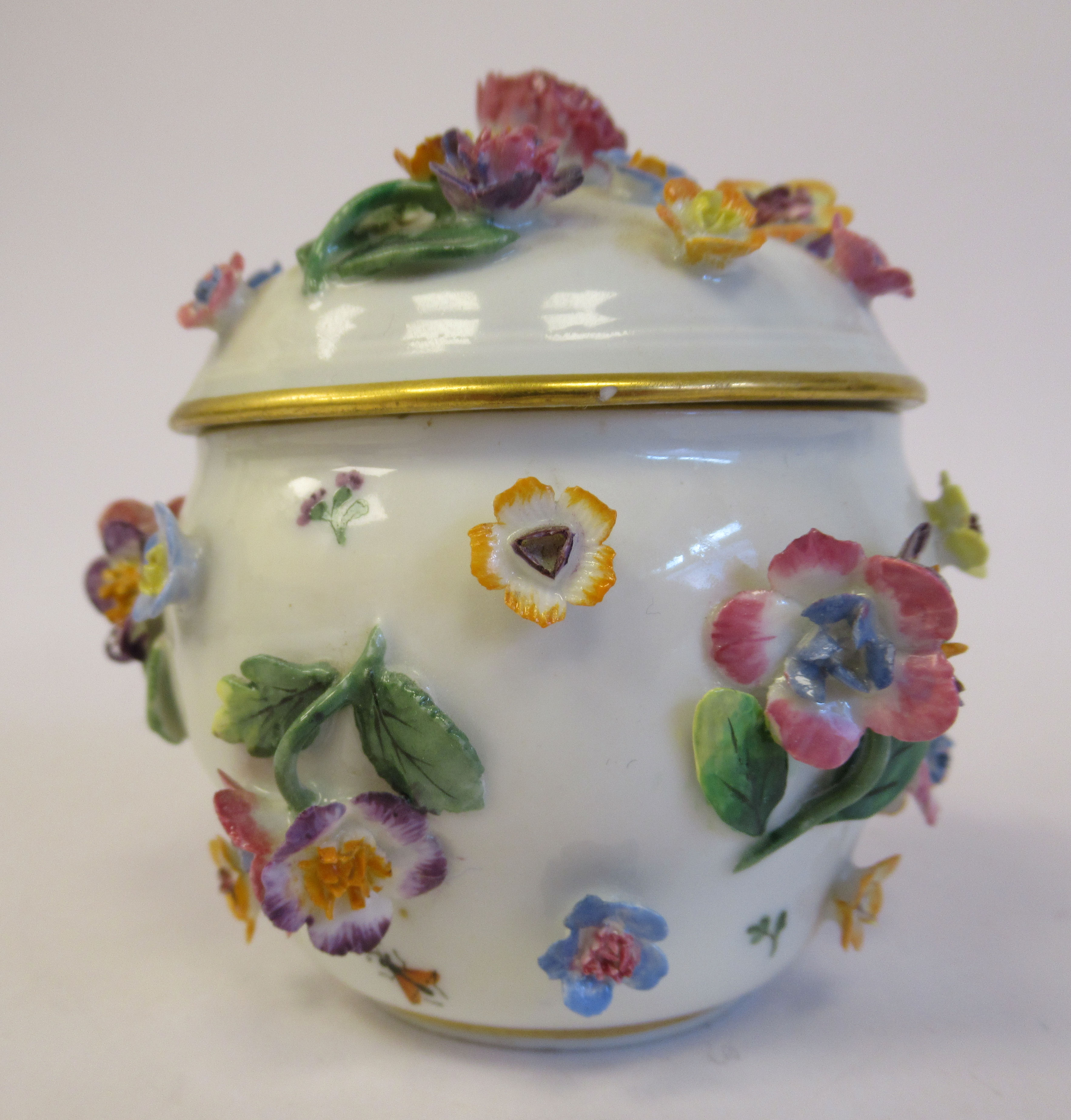 A 19thC Meissen porcelain bulbous pot and domed cover, decorated with encrusted flora and painted - Image 2 of 6