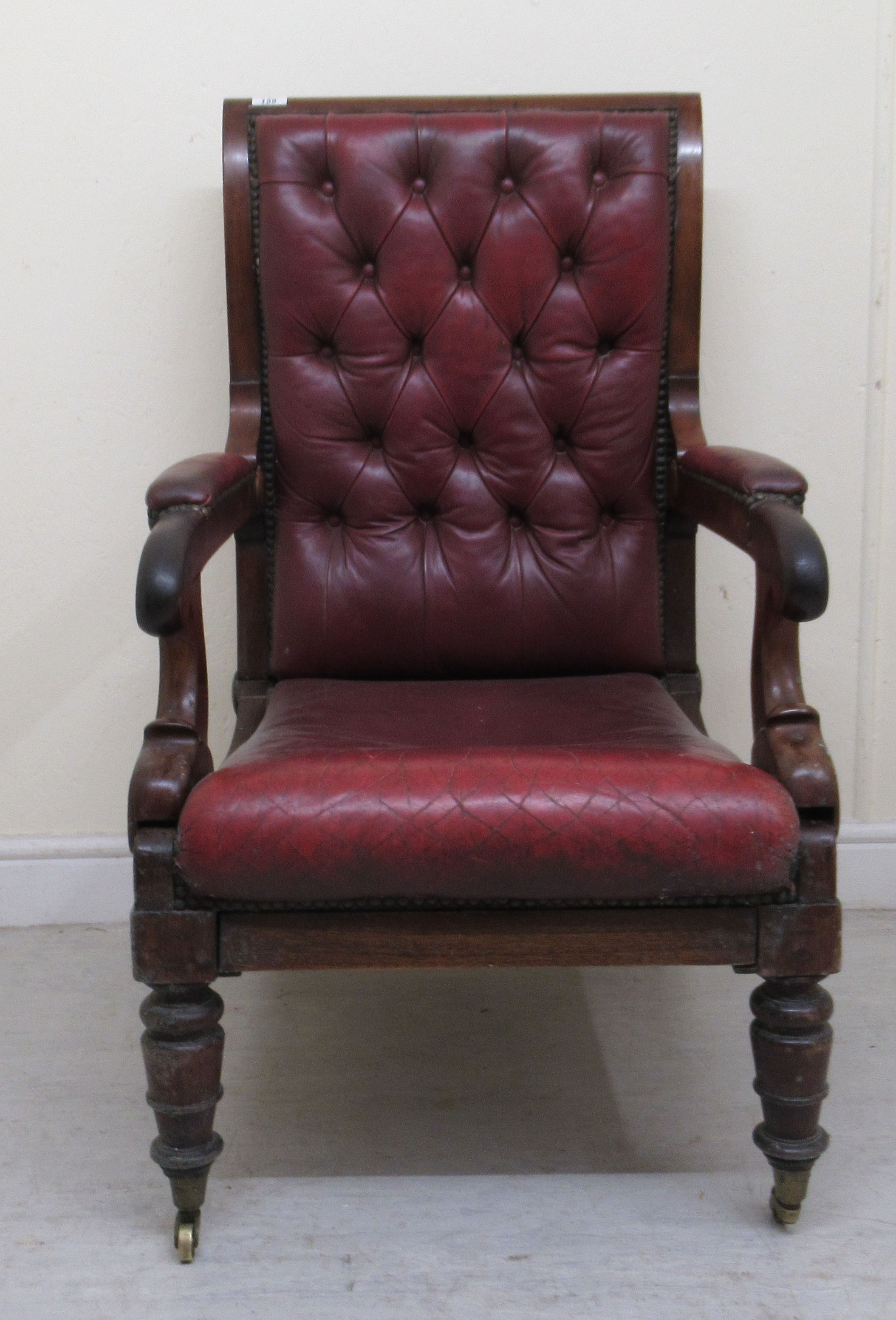 A William IV mahogany framed reclining library chair, the Daws Patent action having a height - Image 2 of 12