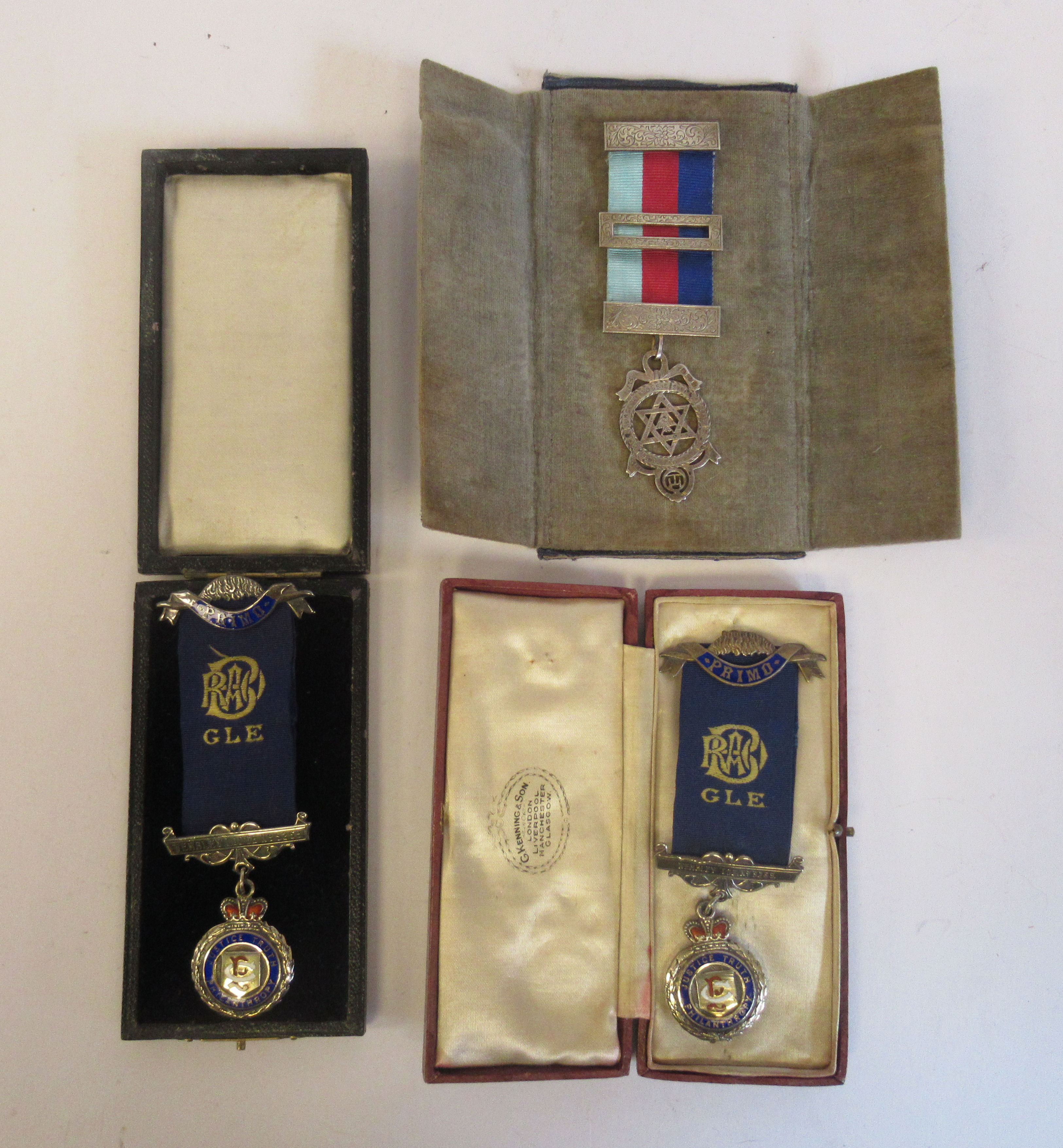 Three silver and coloured enamel Masonic medals, on ribbons mixed marks cased
