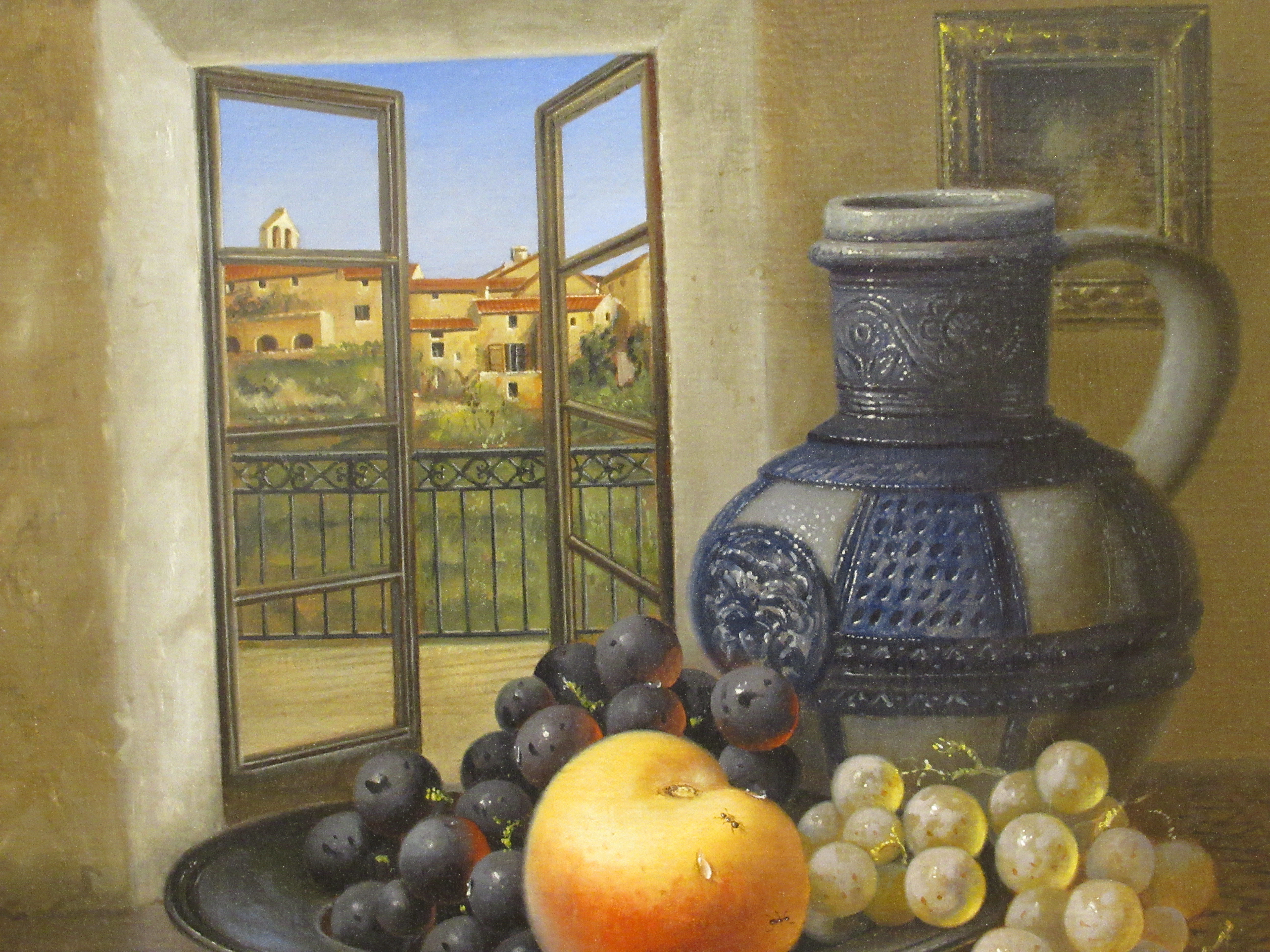 Brain Davies - a still life study, soft fruit in a dish, beside a jug, on a table by an open window - Image 2 of 6