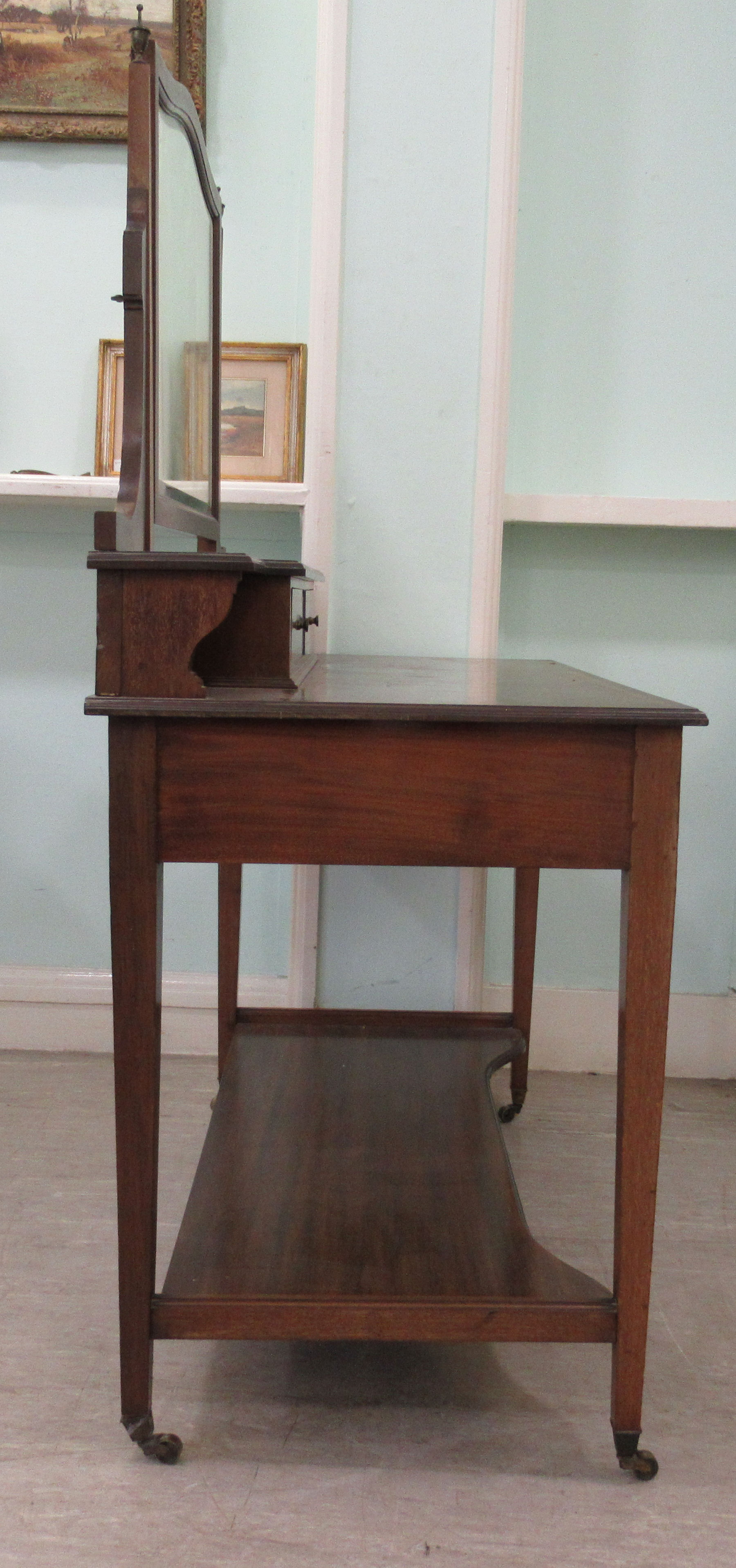 An Edwardian Maple & Co string inlaid ebony and crossbanded mahogany dressing table, surmounted by a - Image 4 of 9