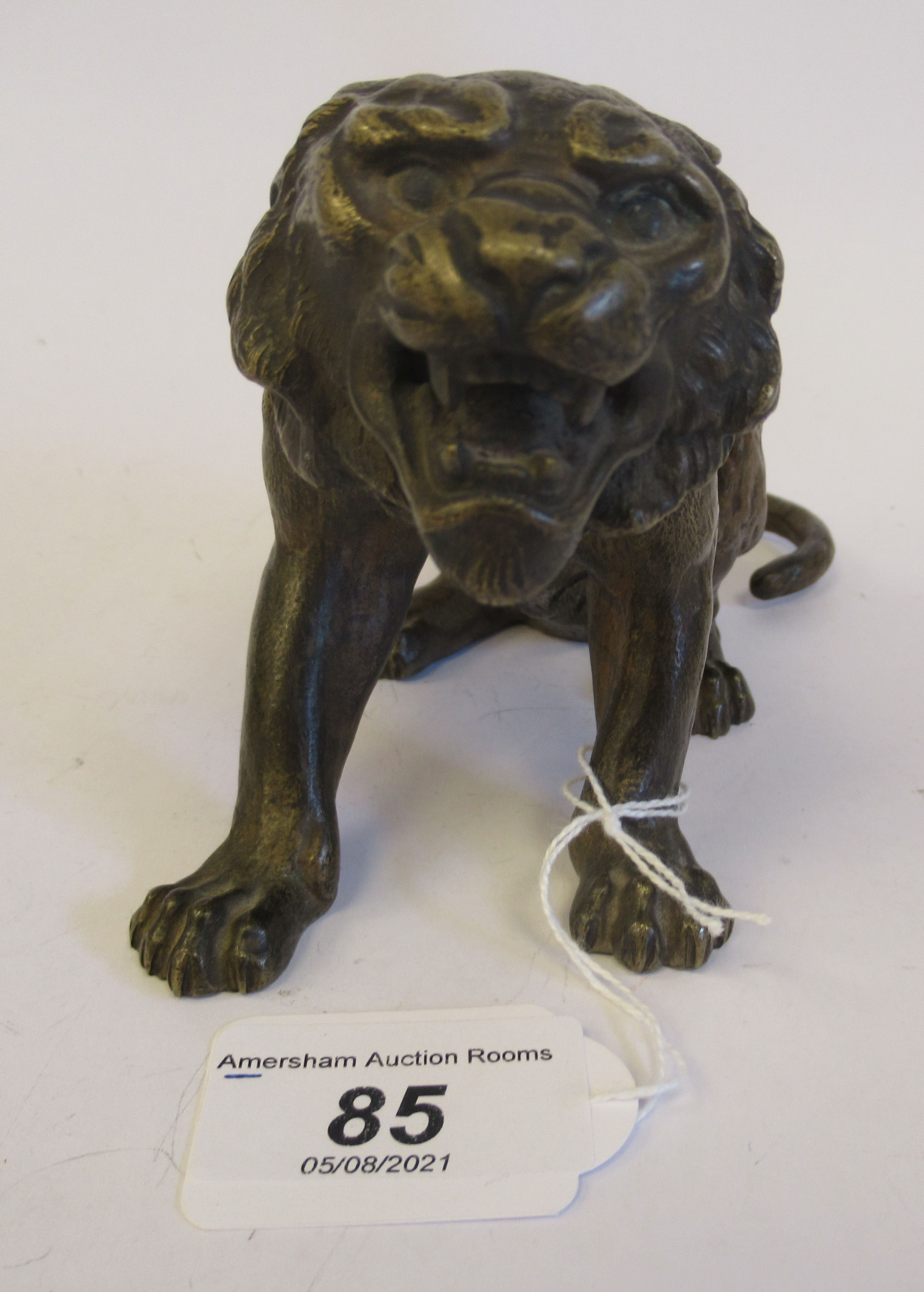 An Austrian cold cast bronze model, a seated, snarling big cat bears traces of paint & an - Image 2 of 8