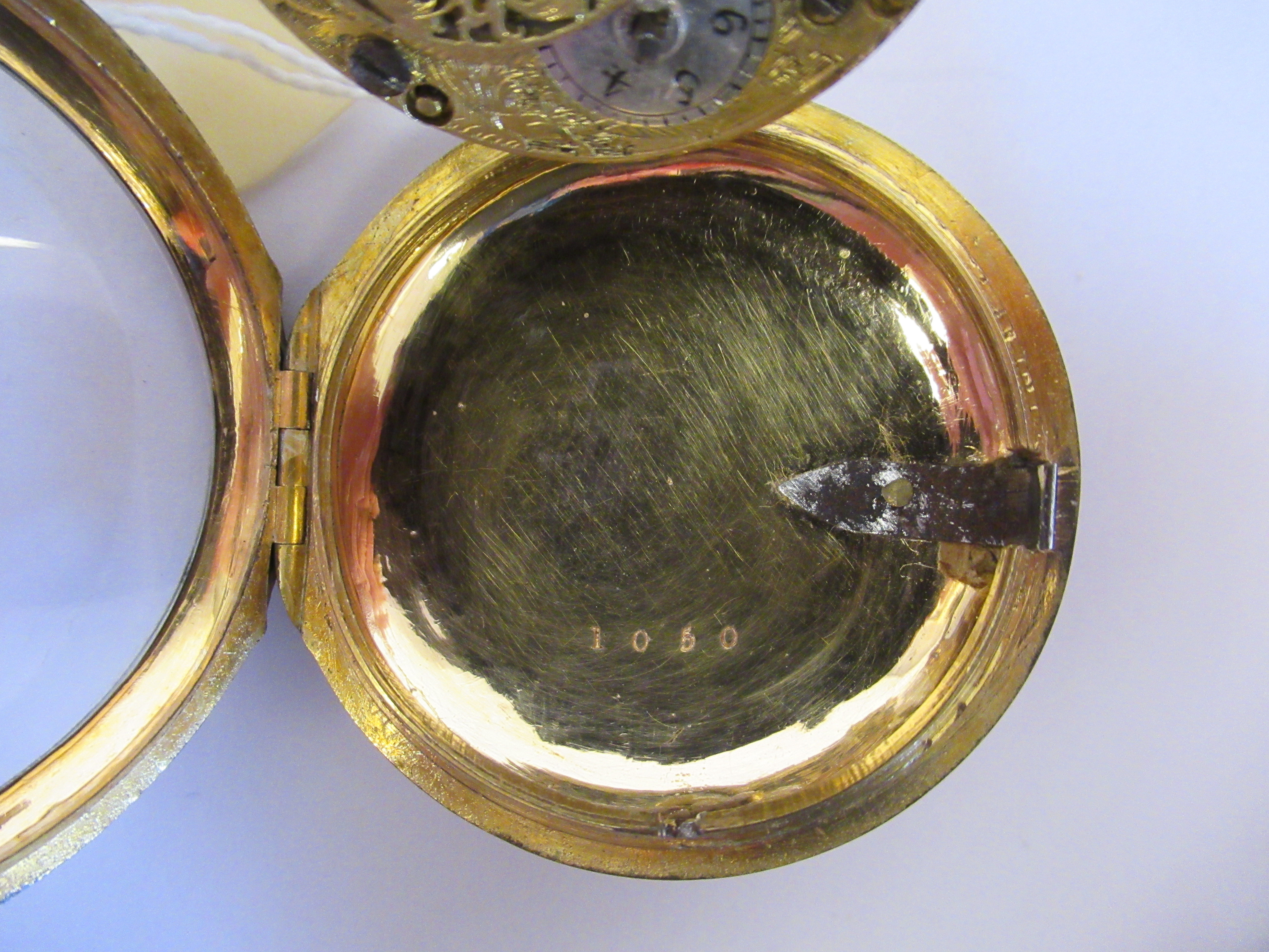 A 19thC Irish gilt metal cased pocket watch with a dimpled glass, the fusee movement inscribed * O' - Image 4 of 5