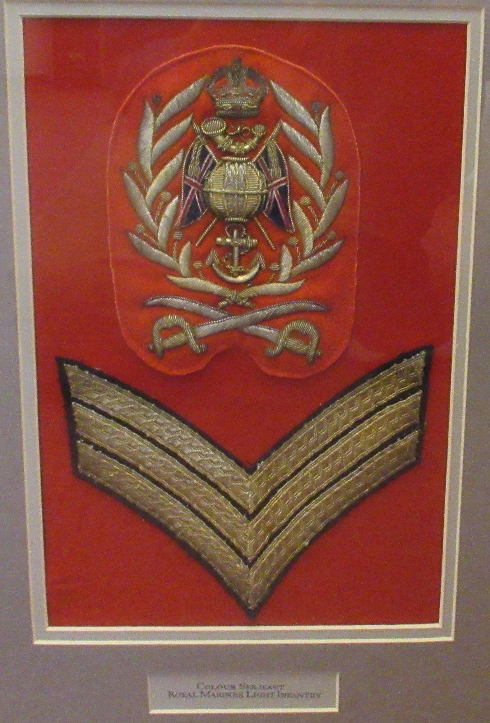 British military braided uniform insignia, viz. Colour Sergeant Royal Marines Light Infantry( - Image 2 of 4