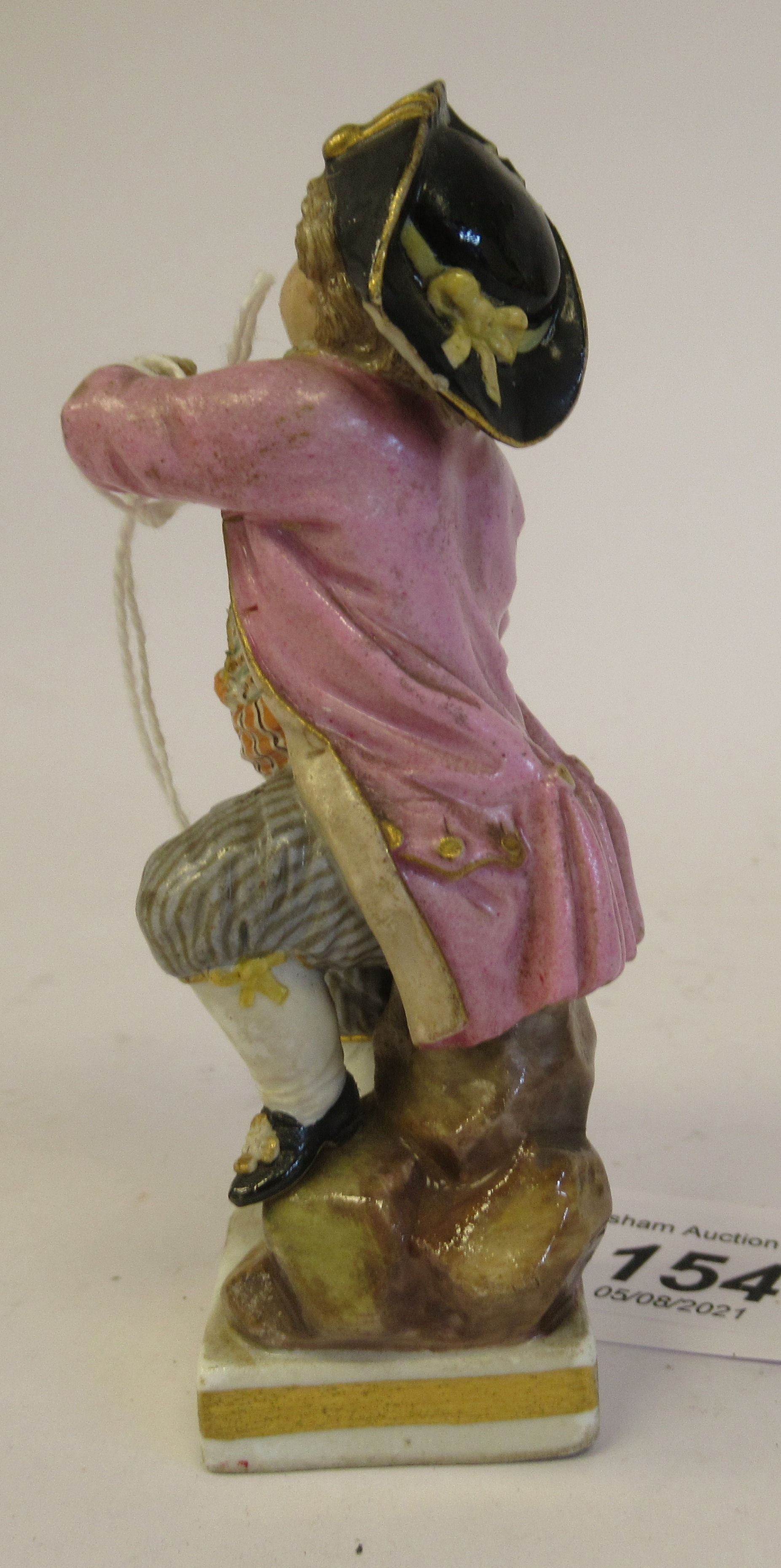 """A 19th/20thC Meissen porcelain figure, a boy dressed as a pirate, on a square plinth 4""""h - Image 3 of 9"""