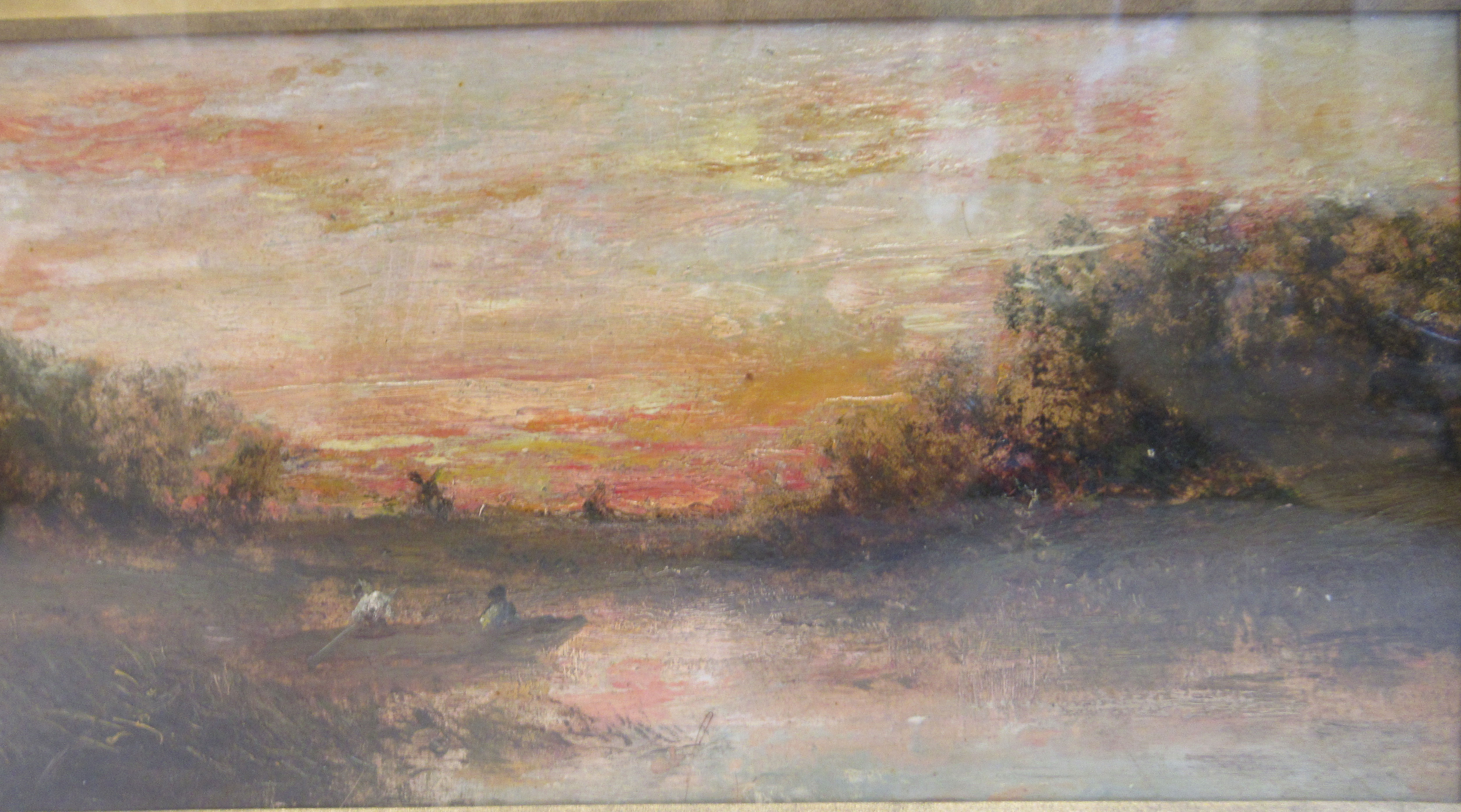 European School - a landscape at sunset with figures in a punt and another tending sheep on a - Image 4 of 5
