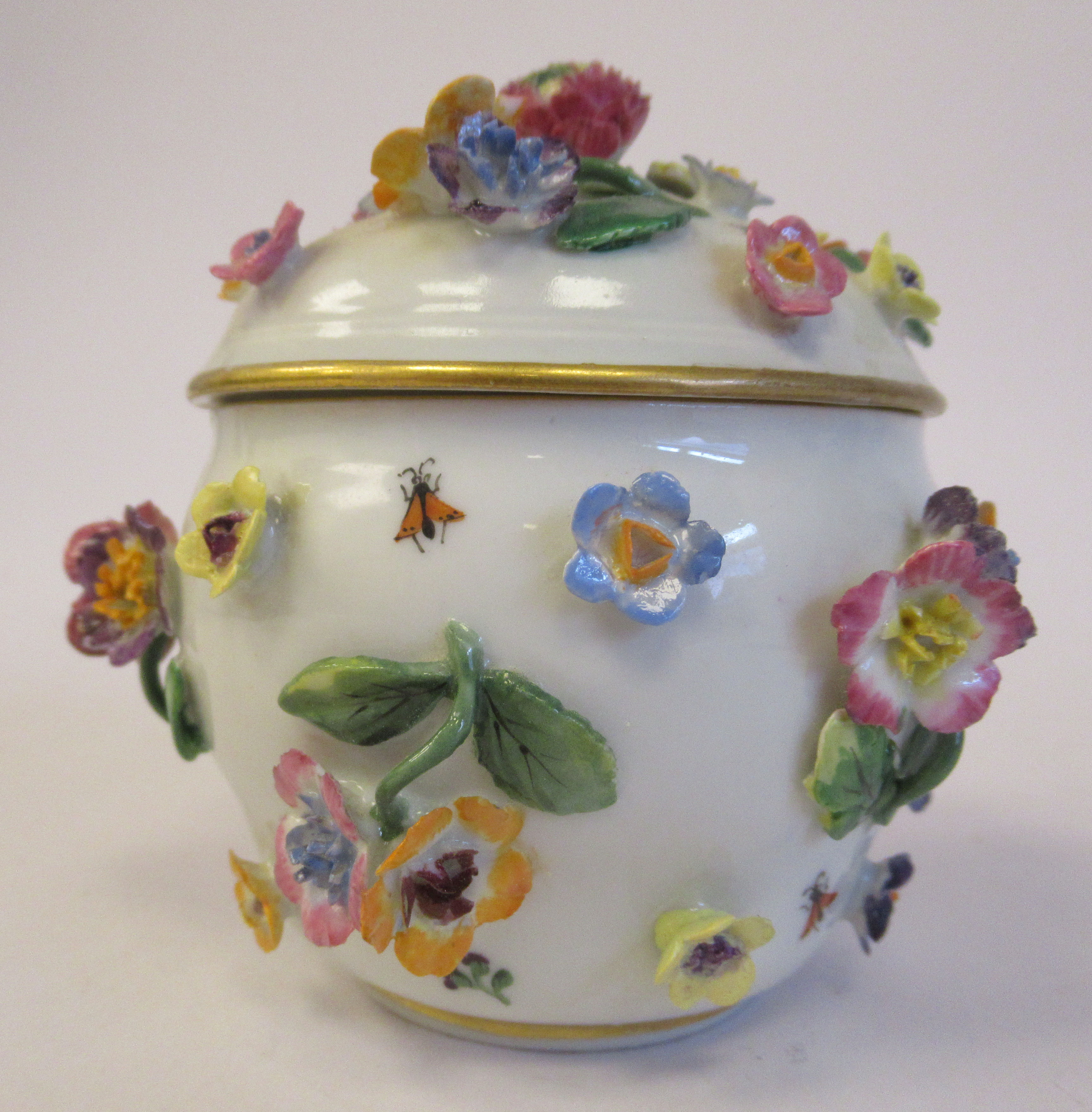 A 19thC Meissen porcelain bulbous pot and domed cover, decorated with encrusted flora and painted - Image 3 of 6