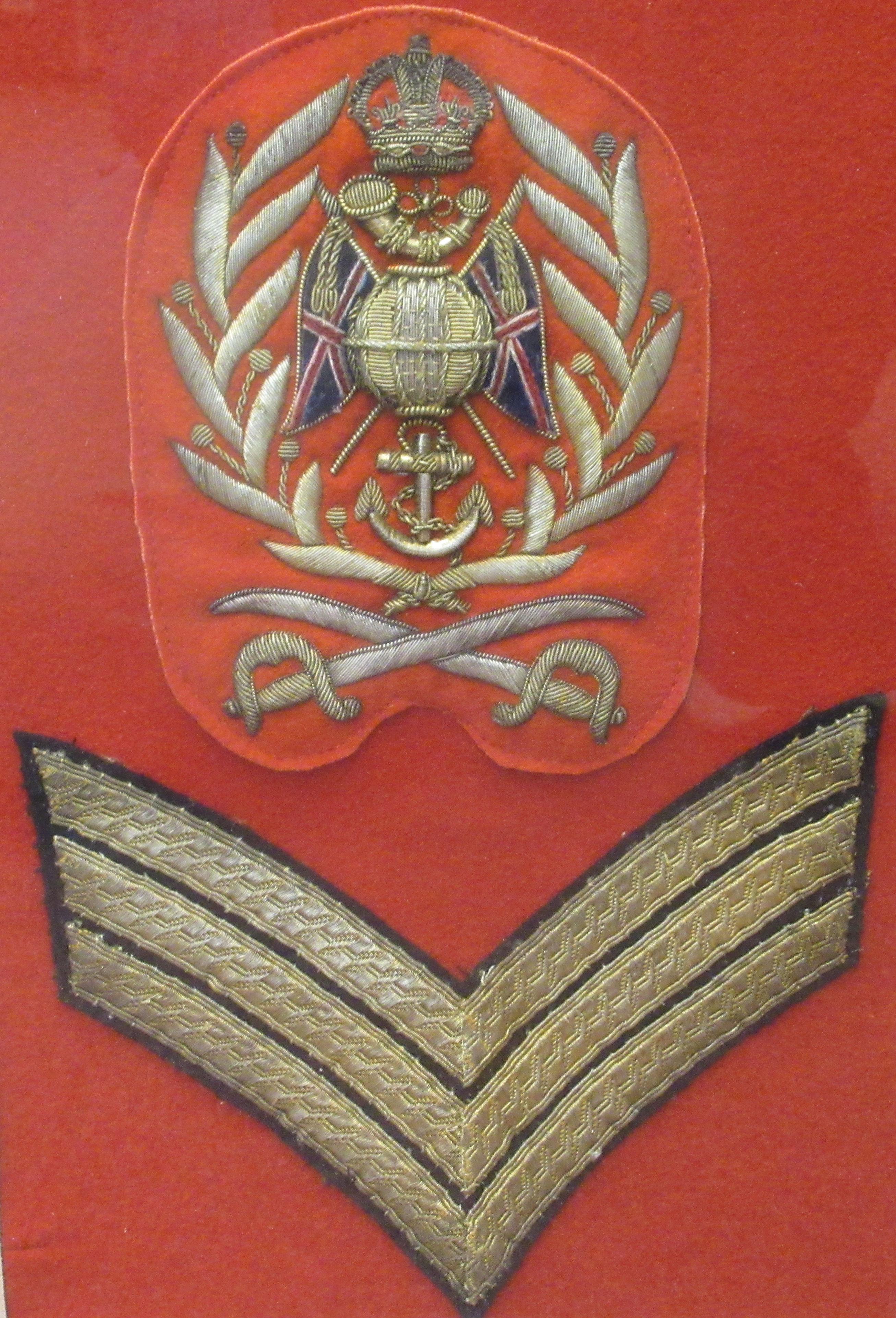 British military braided uniform insignia, viz. Colour Sergeant Royal Marines Light Infantry( - Image 3 of 4