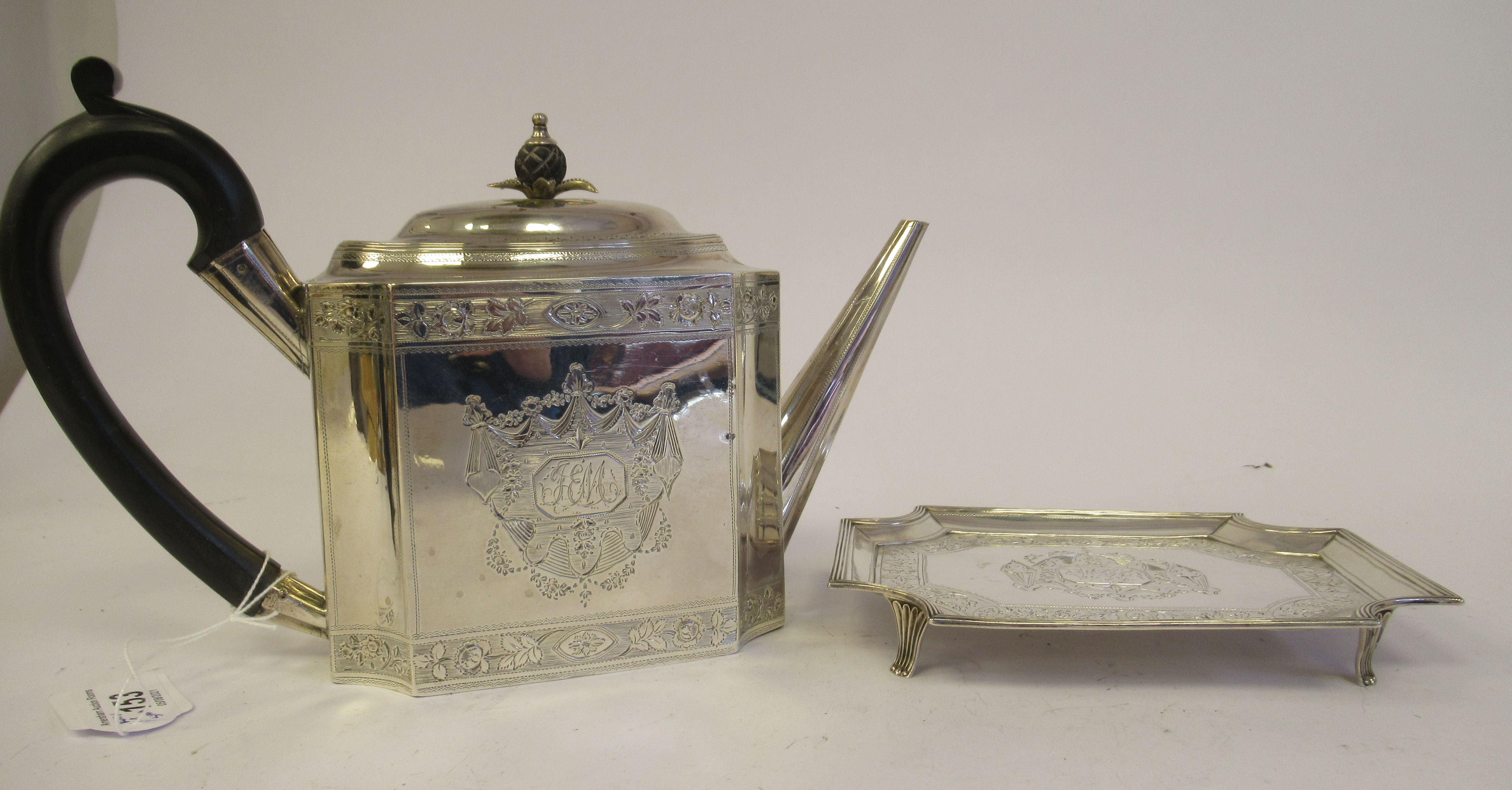 A George III silver teapot of straight sided, incurved box design, having an angled straight, - Image 2 of 9