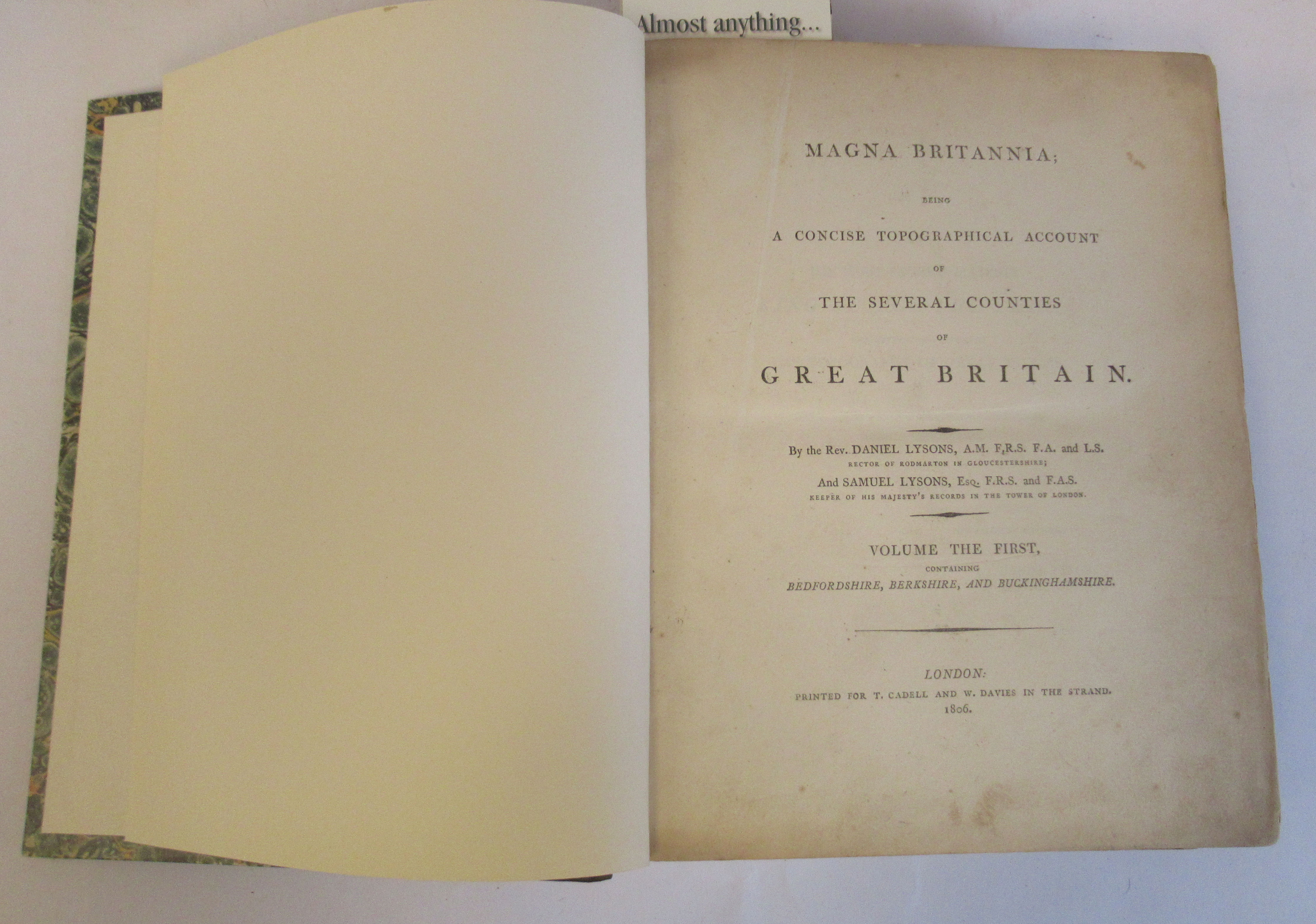 Book: 'Magna Britannia' (first volume) 'Bedfordshire & Buckinghamshire' by Danial Lysons, 44 plates,