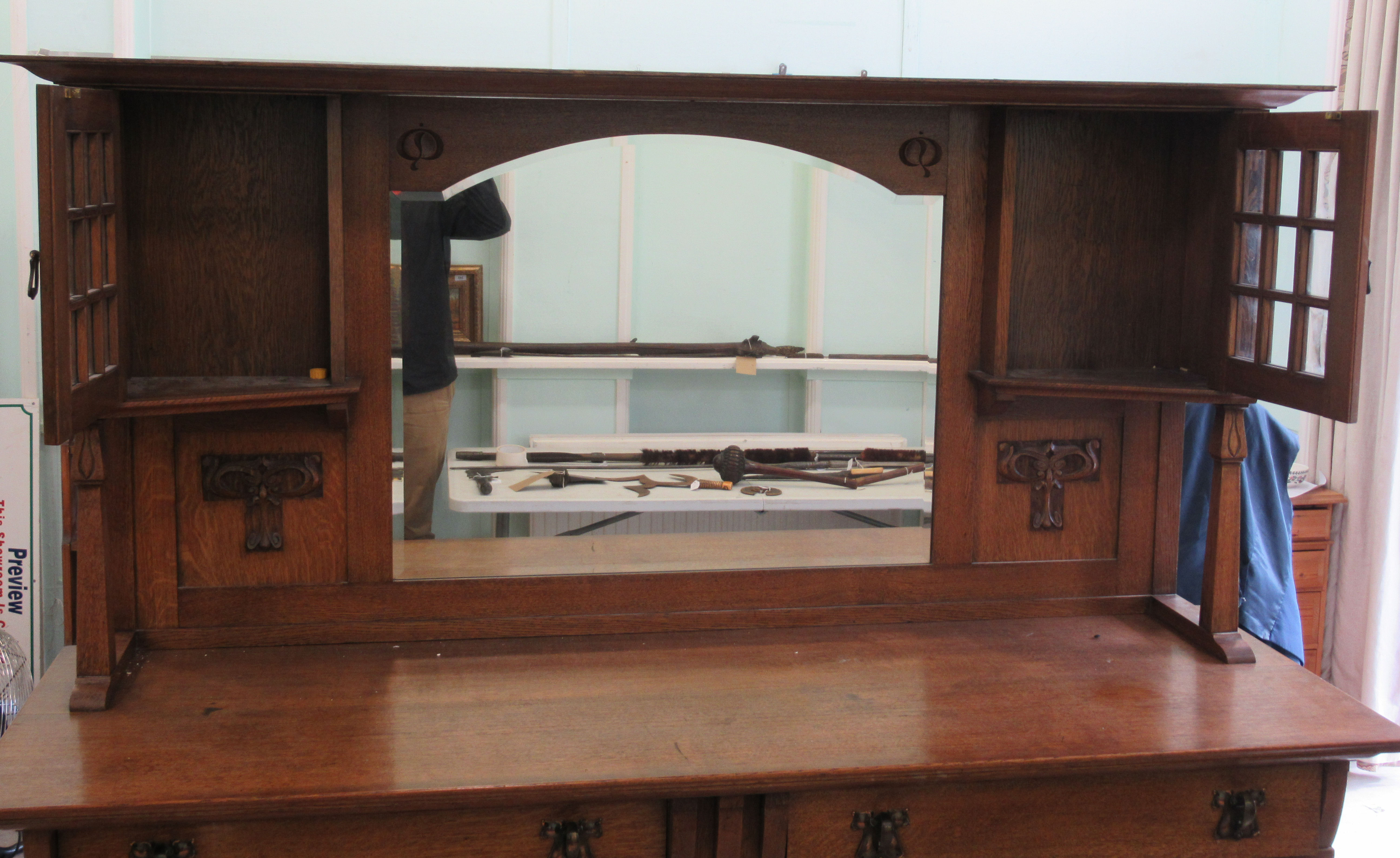An early 20thC Liberty & Co light oak dresser with carved organically inspired ornament, the - Image 6 of 14