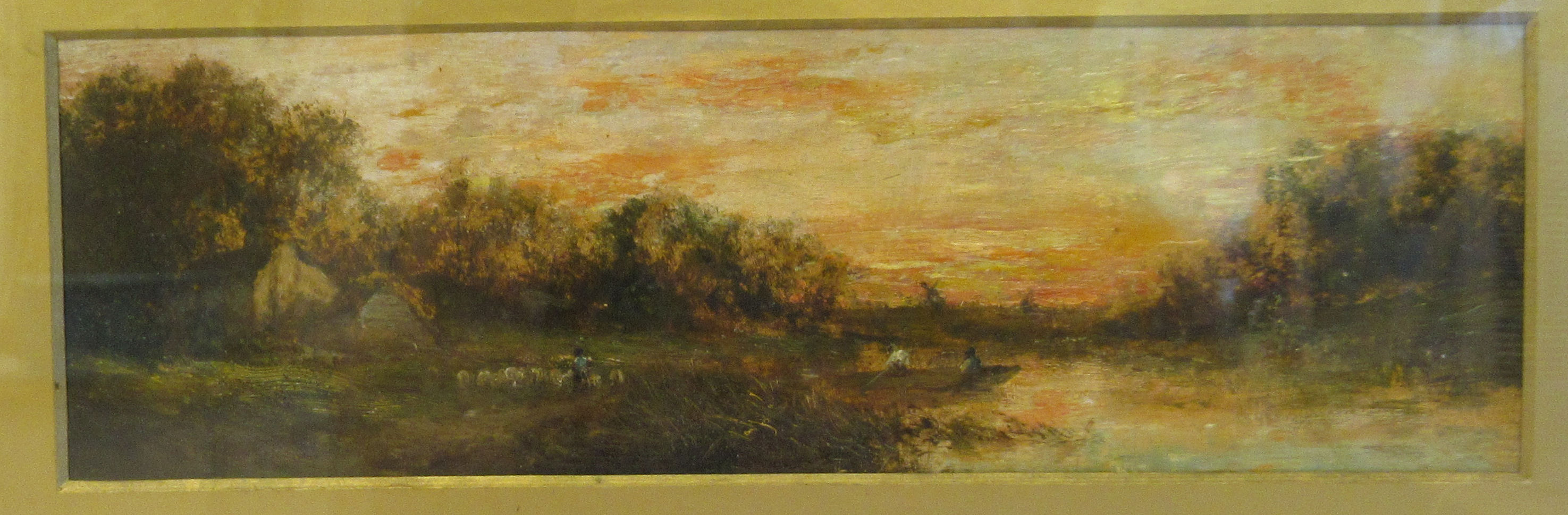 European School - a landscape at sunset with figures in a punt and another tending sheep on a - Image 2 of 5