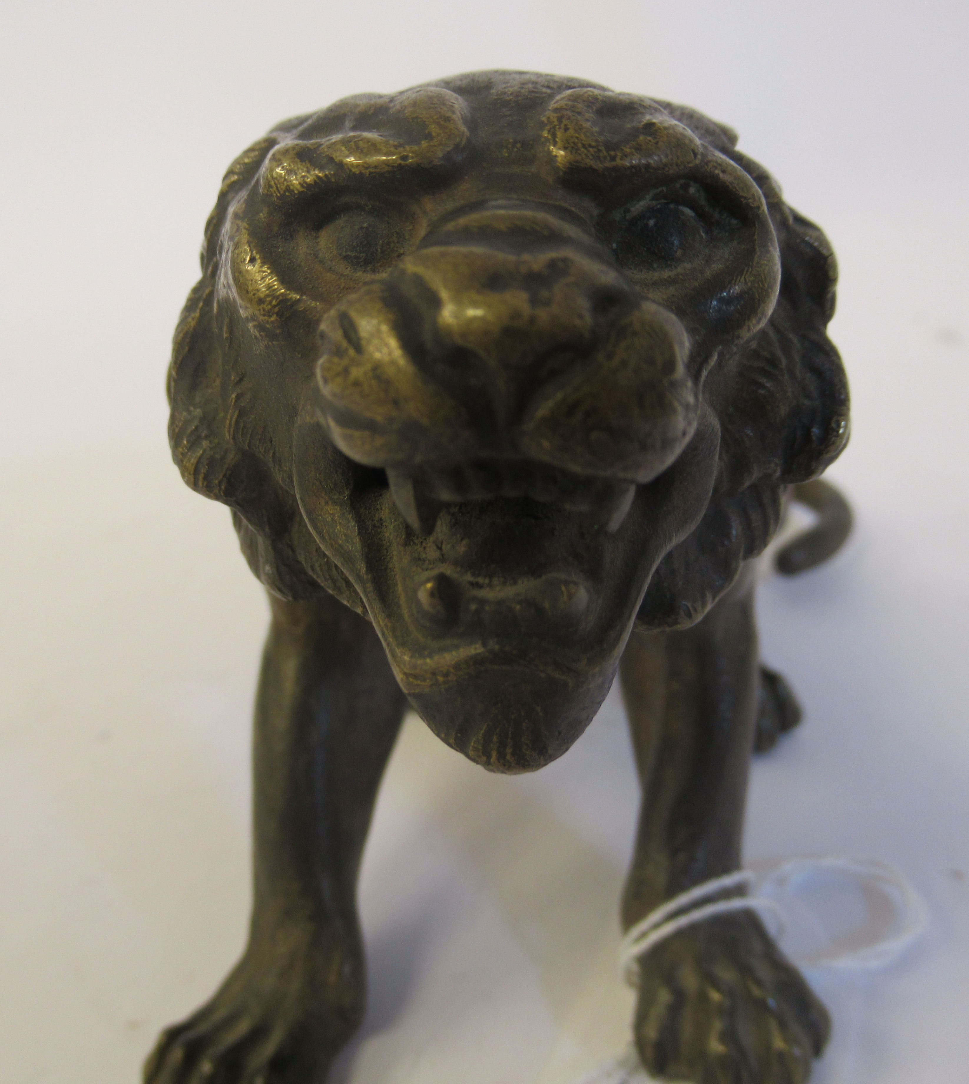 An Austrian cold cast bronze model, a seated, snarling big cat bears traces of paint & an - Image 5 of 8
