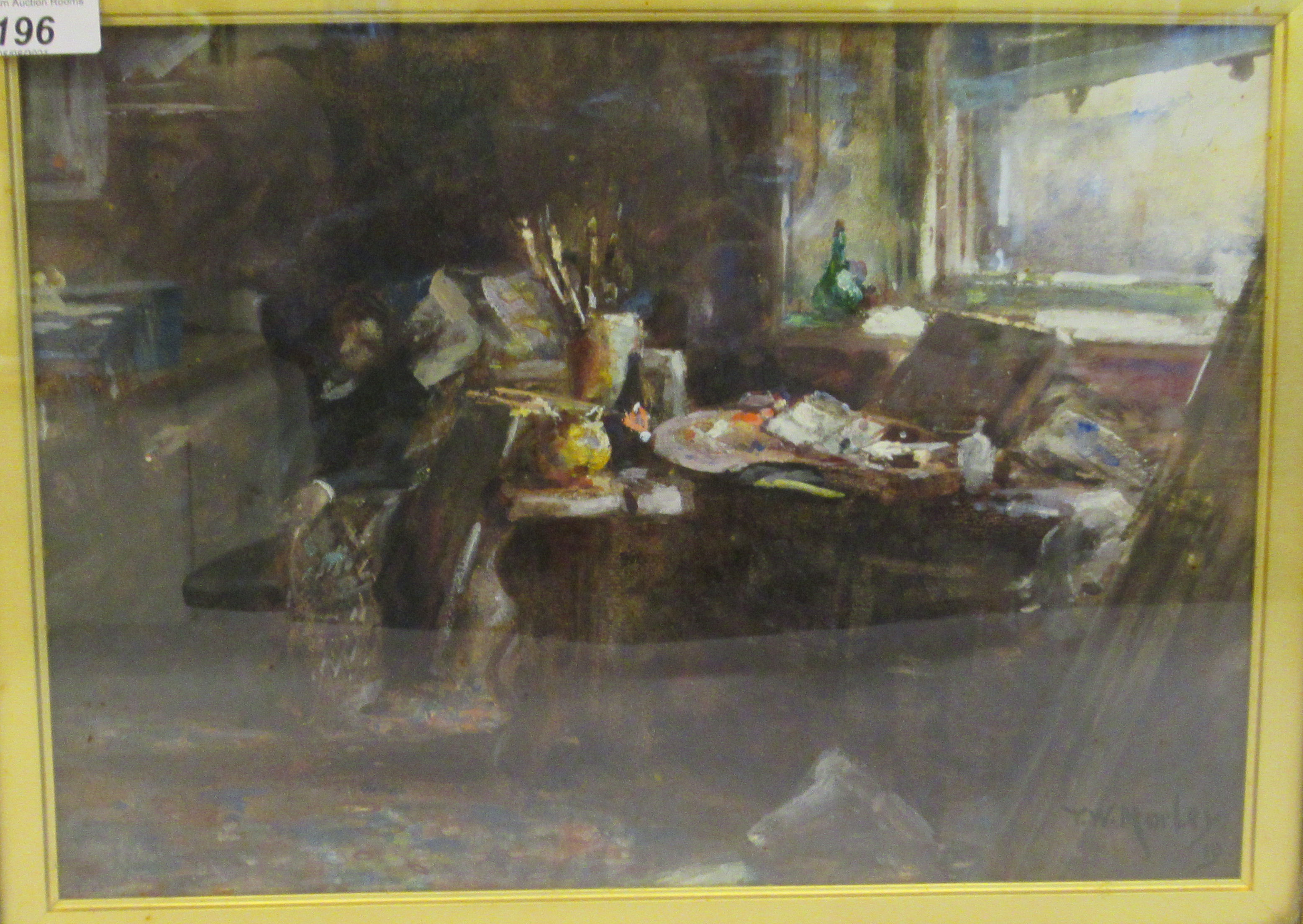TW Morley - an interior studio scene with an artist resting in an armchair watercolour bears a - Image 2 of 7