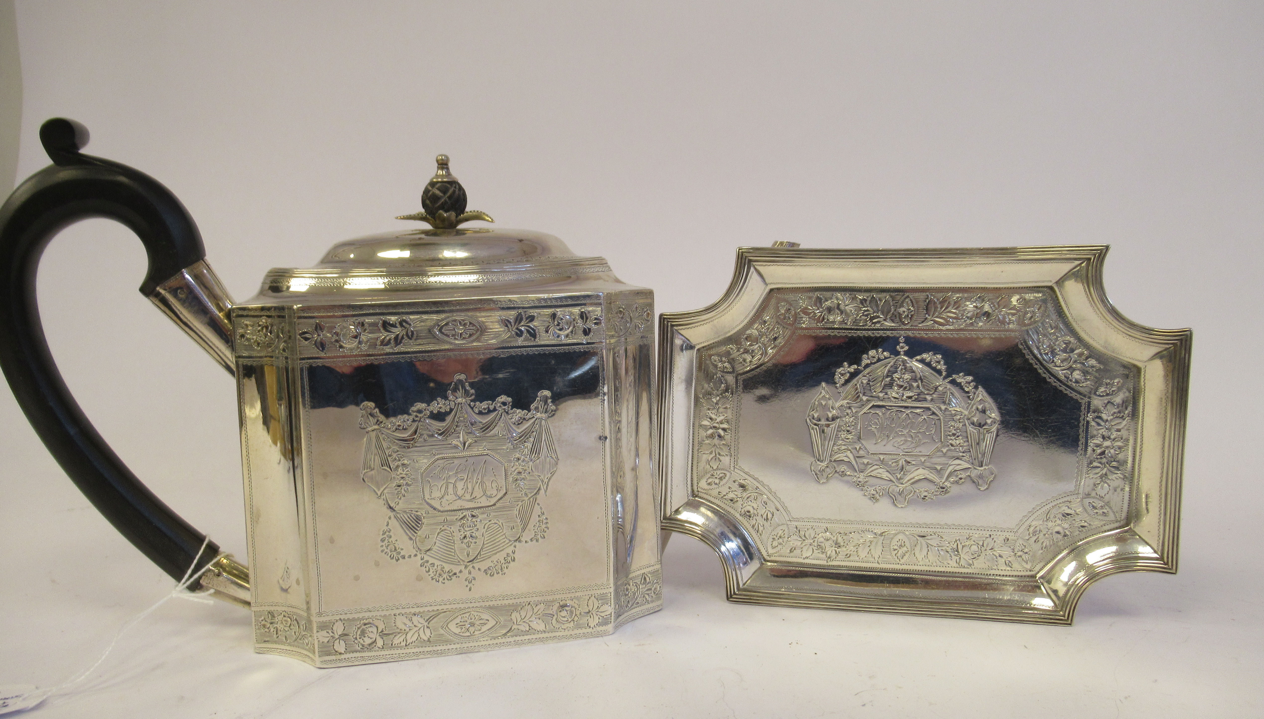 A George III silver teapot of straight sided, incurved box design, having an angled straight, - Image 3 of 9