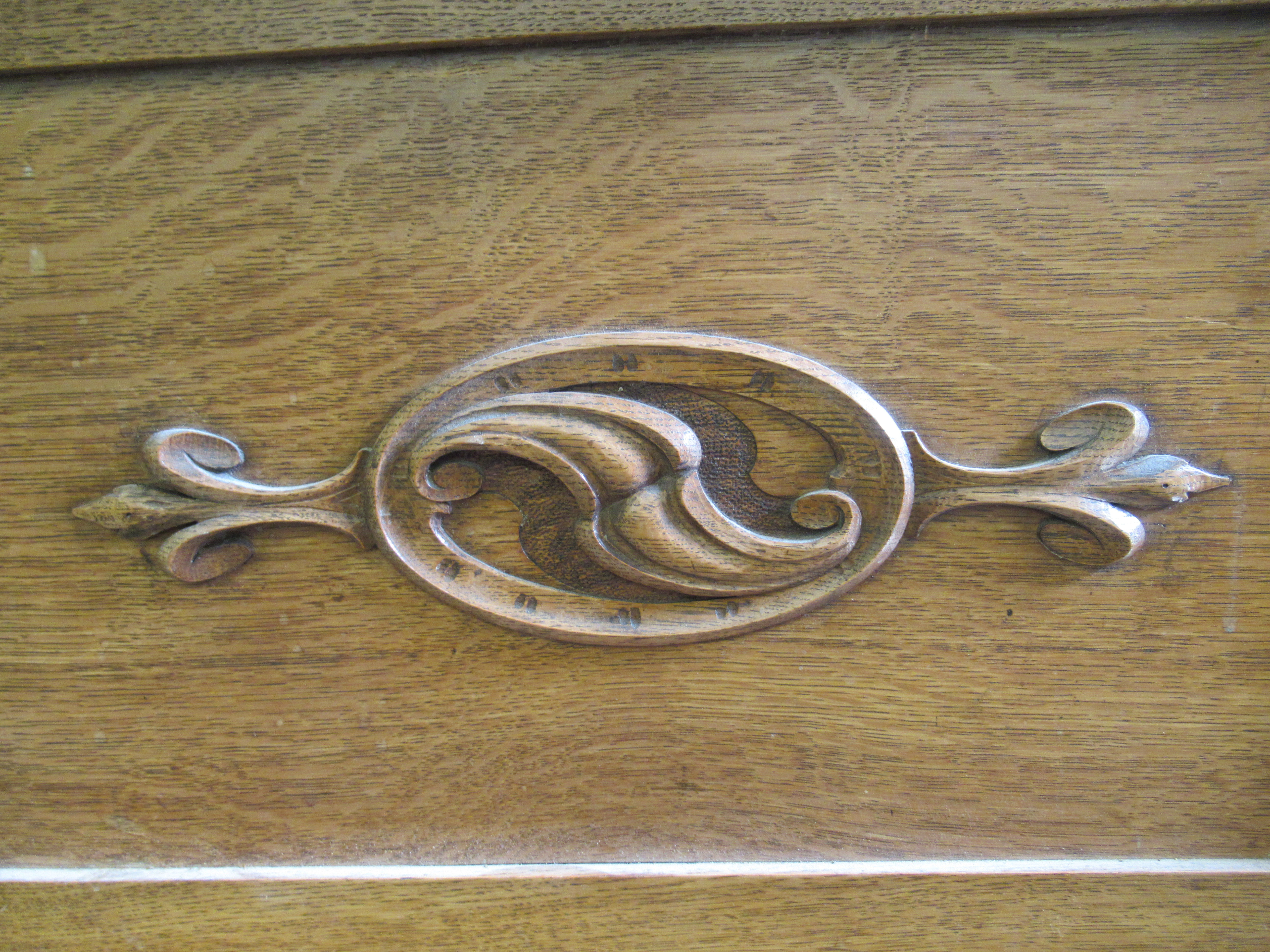 An early 20thC Liberty & Co light oak dresser with carved organically inspired ornament, the - Image 9 of 14