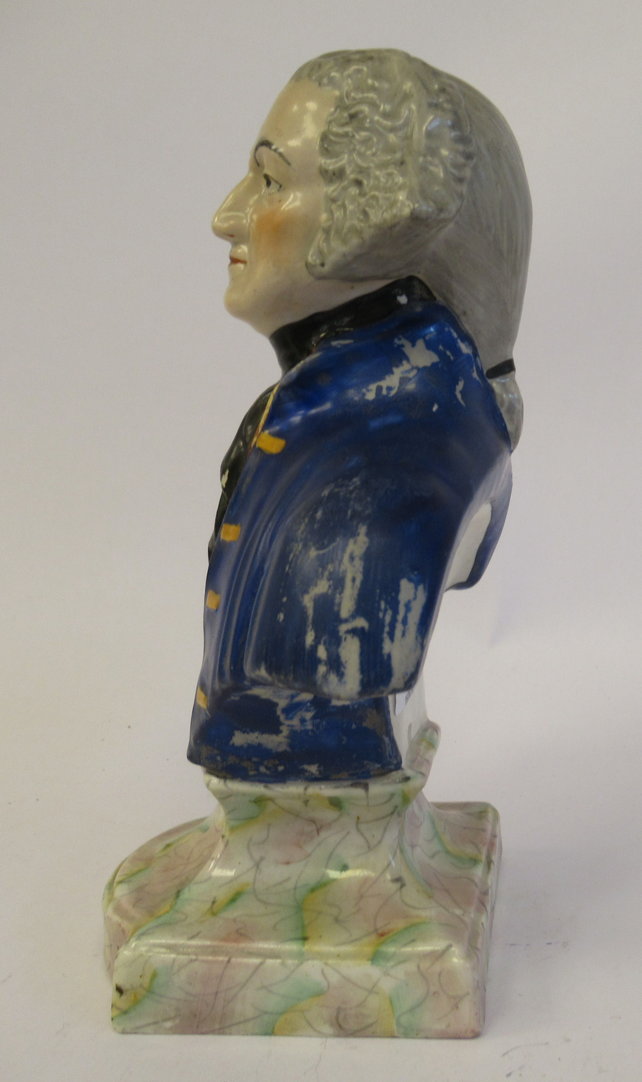 A 19thC Staffordshire pottery bust, featuring a bewigged gentleman, wearing a coat and cravat, on an - Image 2 of 8
