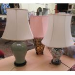 Three table lamps: to include a modern Chinese porcelain celadon glazed example, on a hardwood