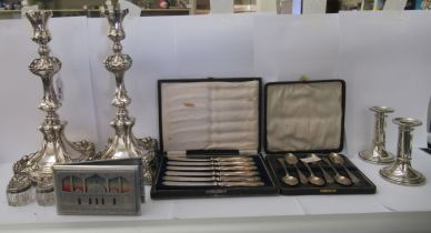 Silver and silver plated tableware: to include a pair of Polish silver plated, on copper