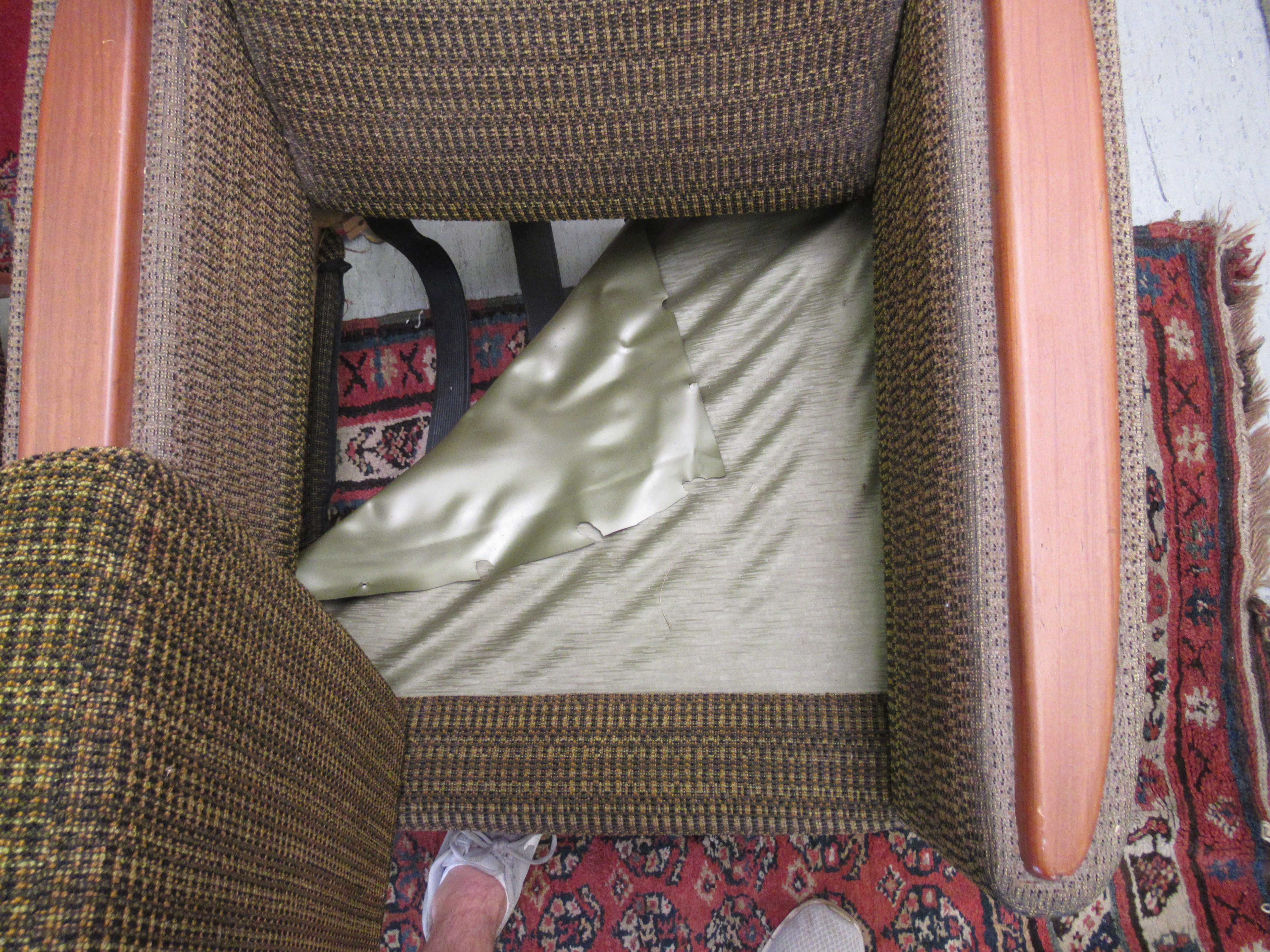 A pair of 1960s/1970s three tone, textured fabric upholstered, low, enclosed armchairs with panelled - Image 3 of 5
