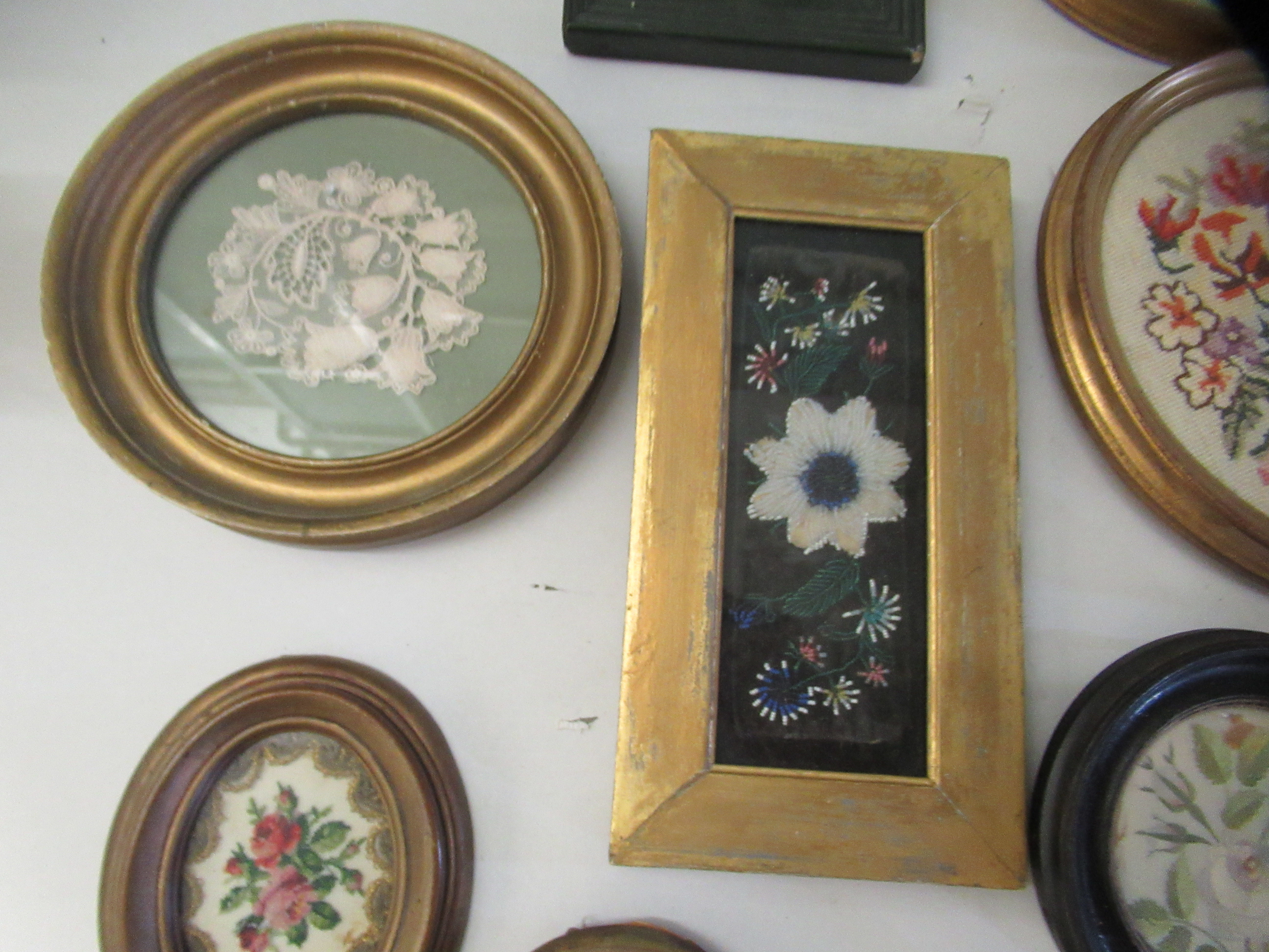 19th and 20thC embroidered tapestry panels various designs & sizes framed - Image 3 of 7