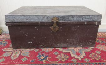 """An early/mid 20thC steel trunk with straight sides and a hinged lid 12""""h 26""""w"""
