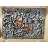 A modern 3D abstract work, in relief with two masks amongst waves mixed media bears an