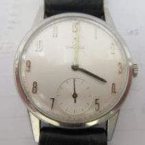 An Omega stainless steel cased wristwatch, faced by an Arabic dial with subsidiary seconds, on a