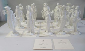 """Fifteen Royal Worcester porcelain figures 'The 1920s Vogue Collection' 8-9""""h with certificates"""