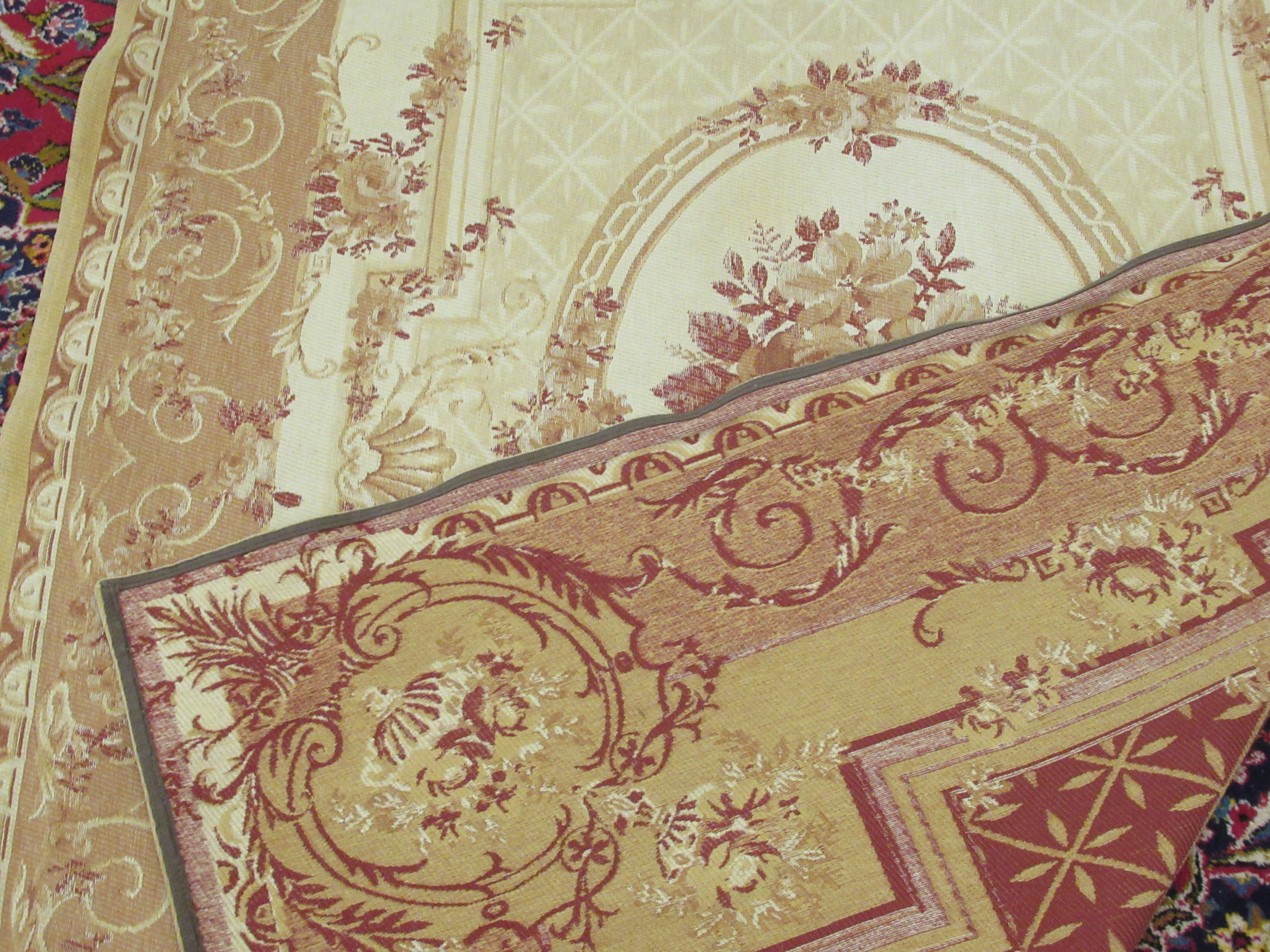 """A Belgian design wall hanging with floral decoration, on a beige ground 89"""" x 60"""" - Image 5 of 5"""